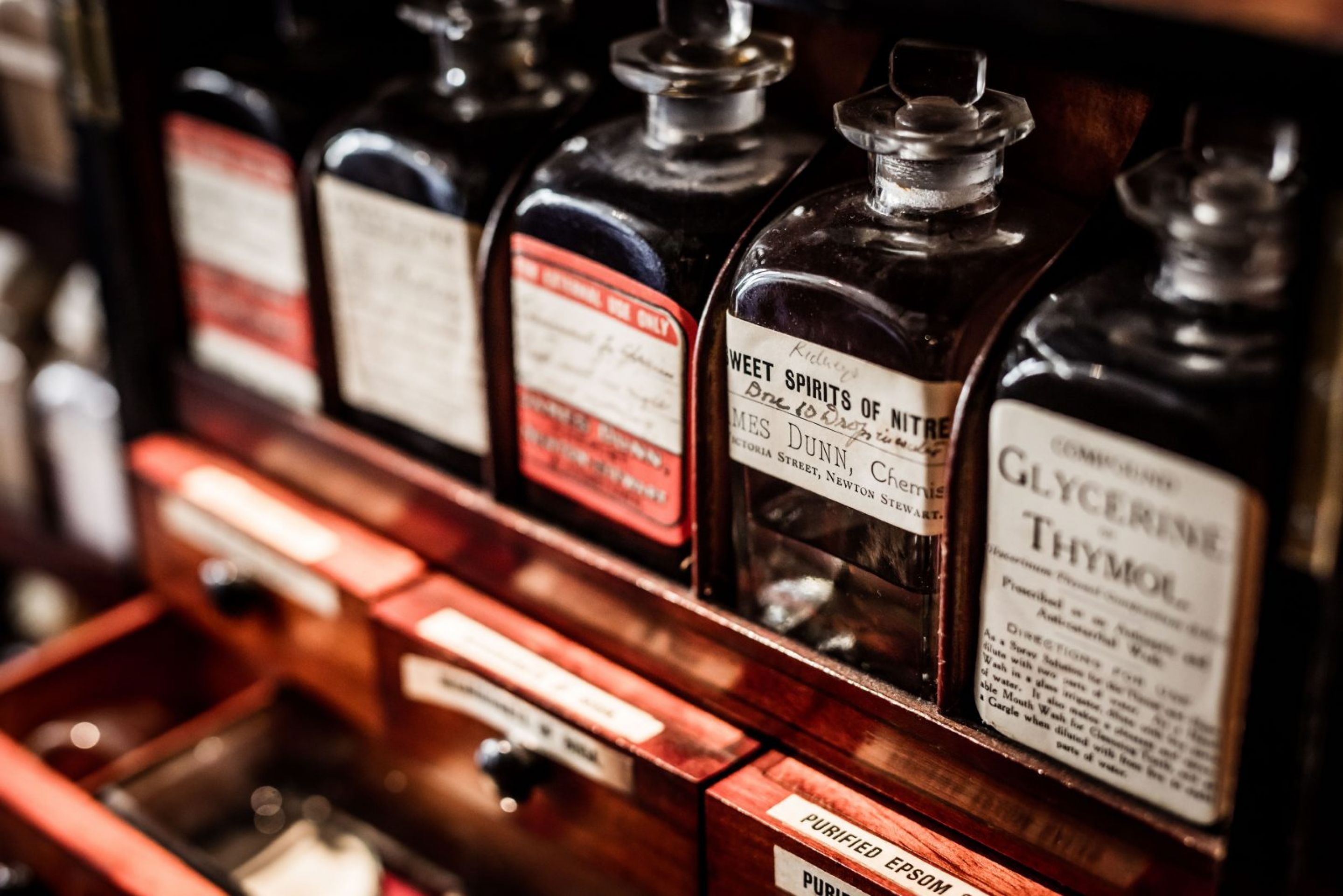 1850's Mahogany Apothecary Chemist's Travelling Cabinet for the Apothecary James