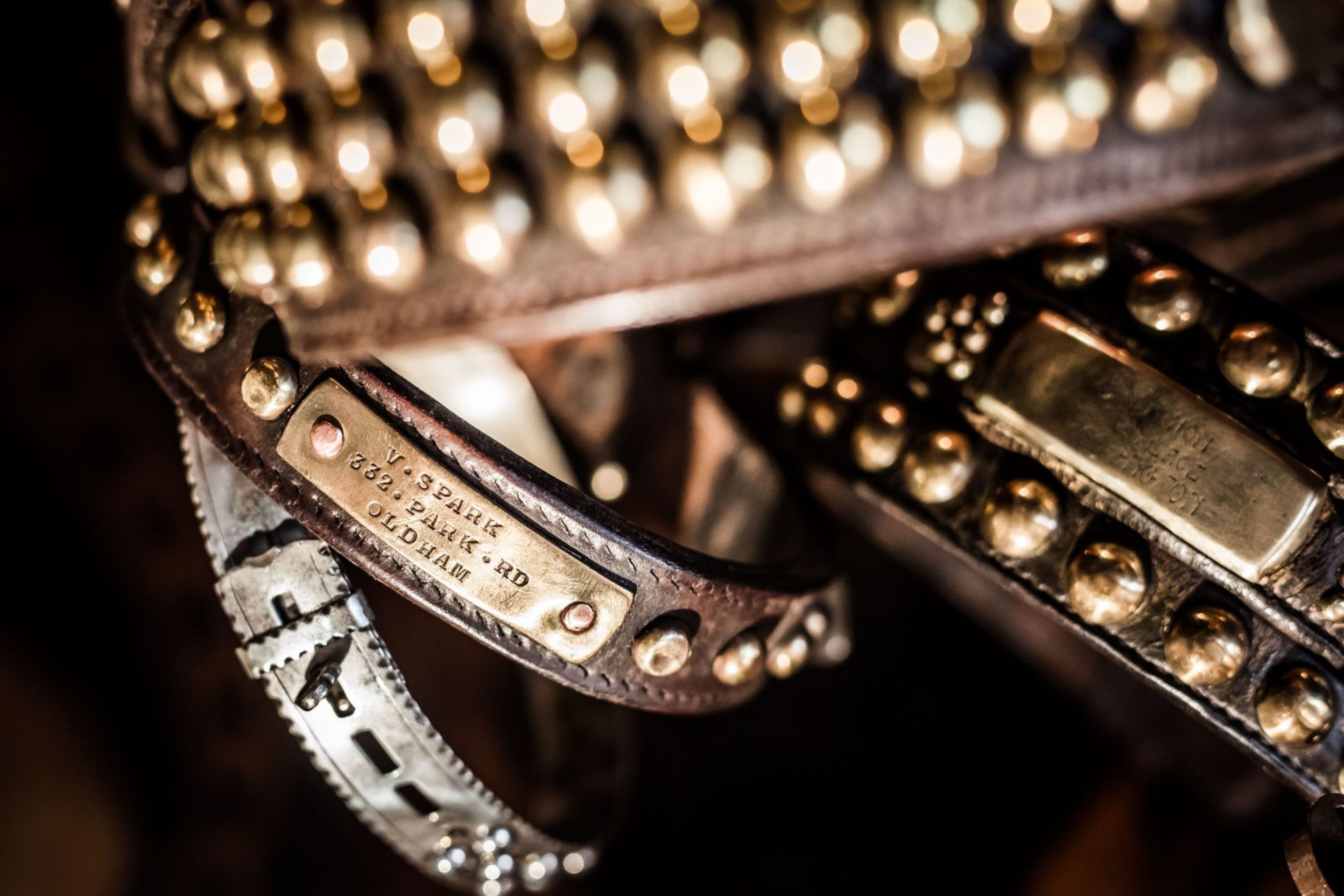 Large Victorian Leather and Brass Dog Collars