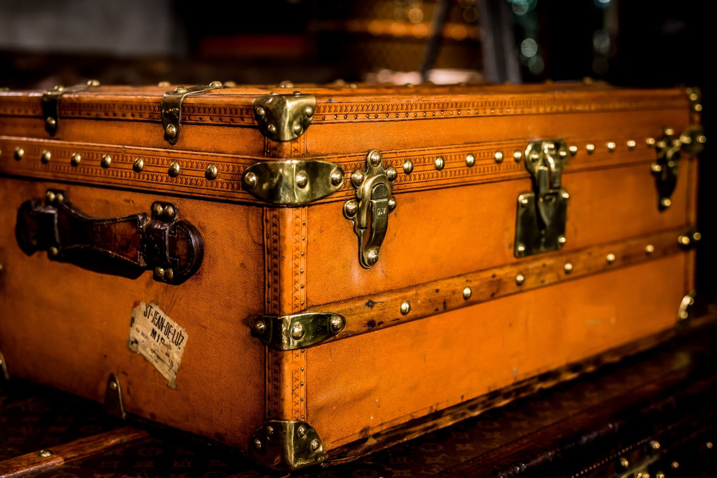Small Studded Tan and Orange leather Cabin Trunk