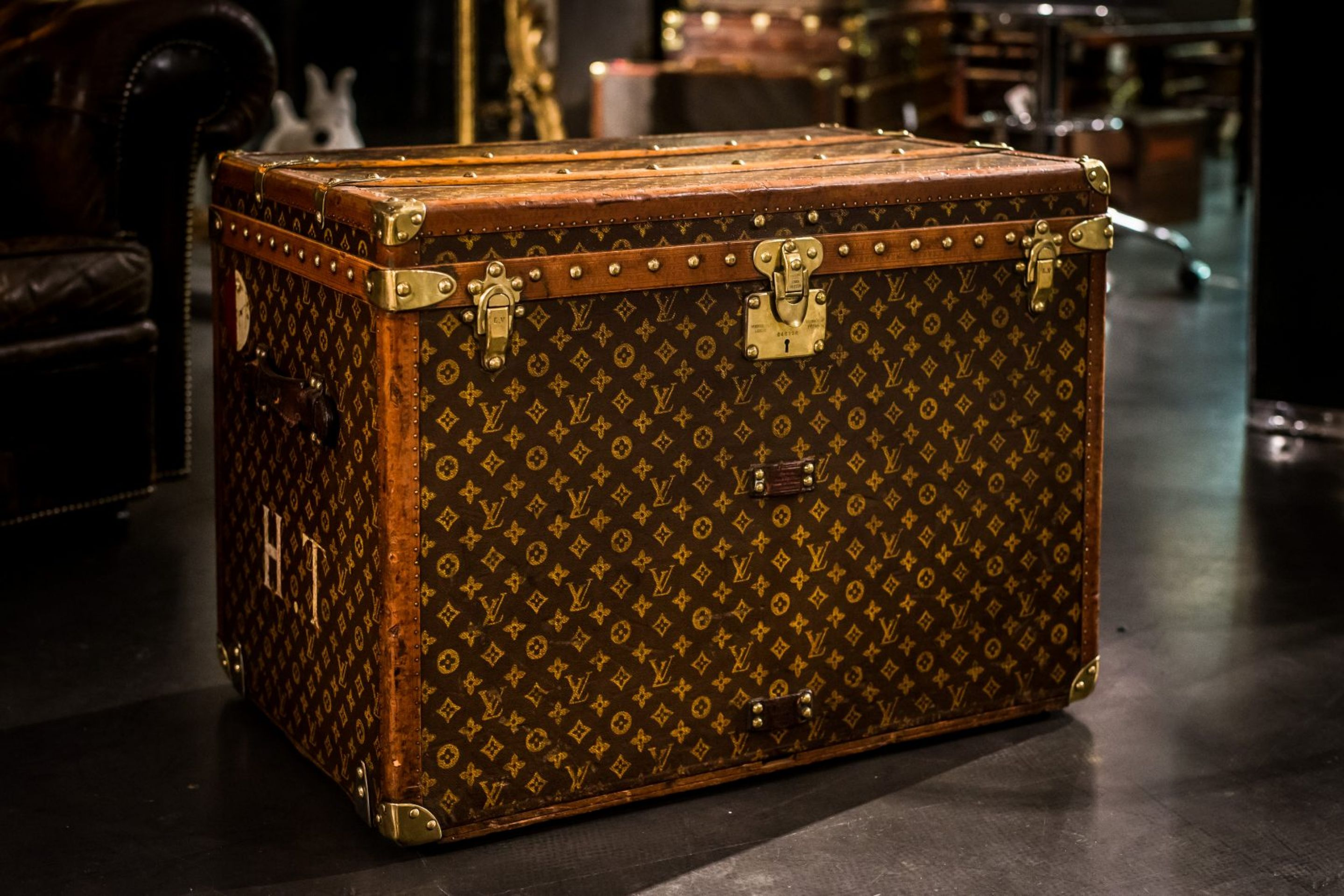 "Louis Vuitton Hat Box Customized with ""HT"" Initials"