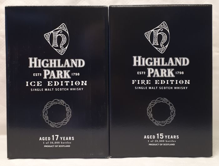 Highland Park ICE & FIRE - Limited Editions in wooden showcases and original boxes