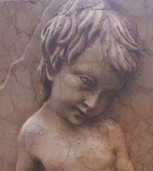High relief in marble Nembro Rosato child with Goose-Italy 20° sec.