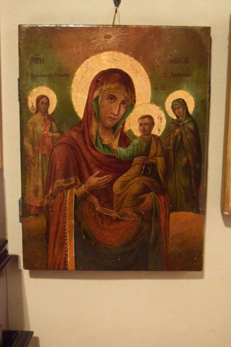 Russian icon depicting the Madonna and child with Saints - Russia - 19th century