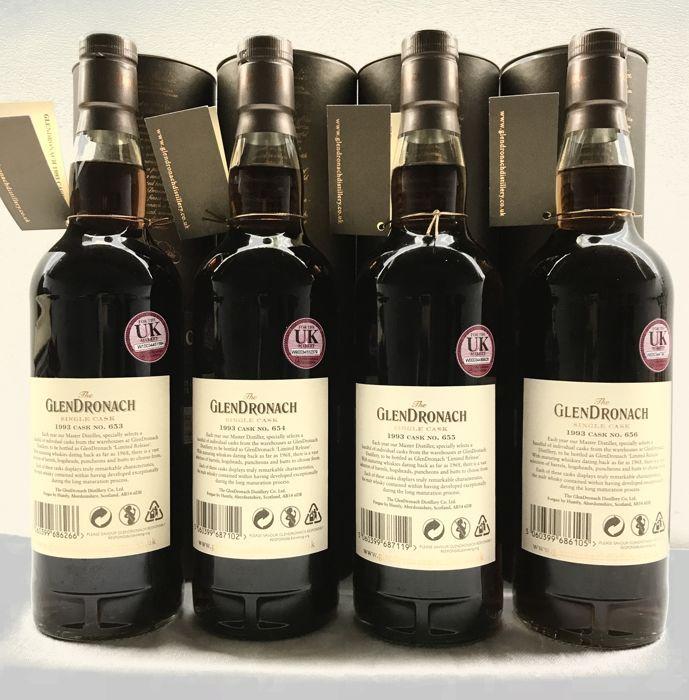 4 bottles - Glendronach 1993 24YO Single Cask (Sister Casks of #653, #654, #655 & #656)
