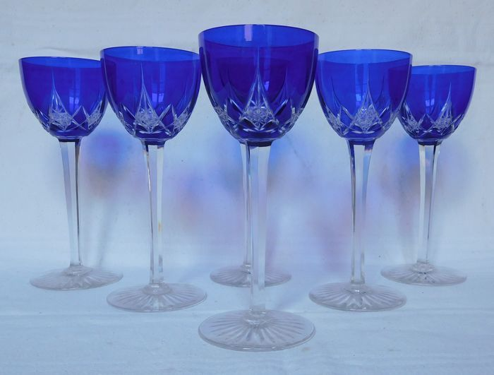 Series of 6 Rhine wine glasses in Baccarat crystal, Model Epron, cobalt blue overlay, France, early 20th century