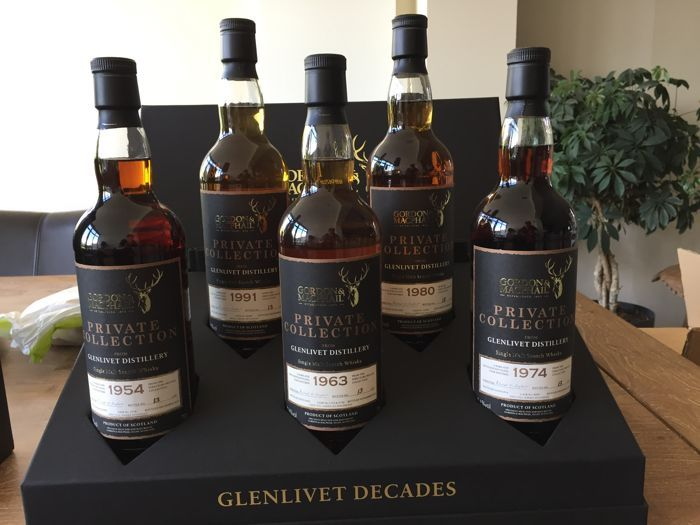 5 bottles - The Glenlivet 5 Decades box by Gordon & Macphail Private Collection - only 50 collection packs worldwide