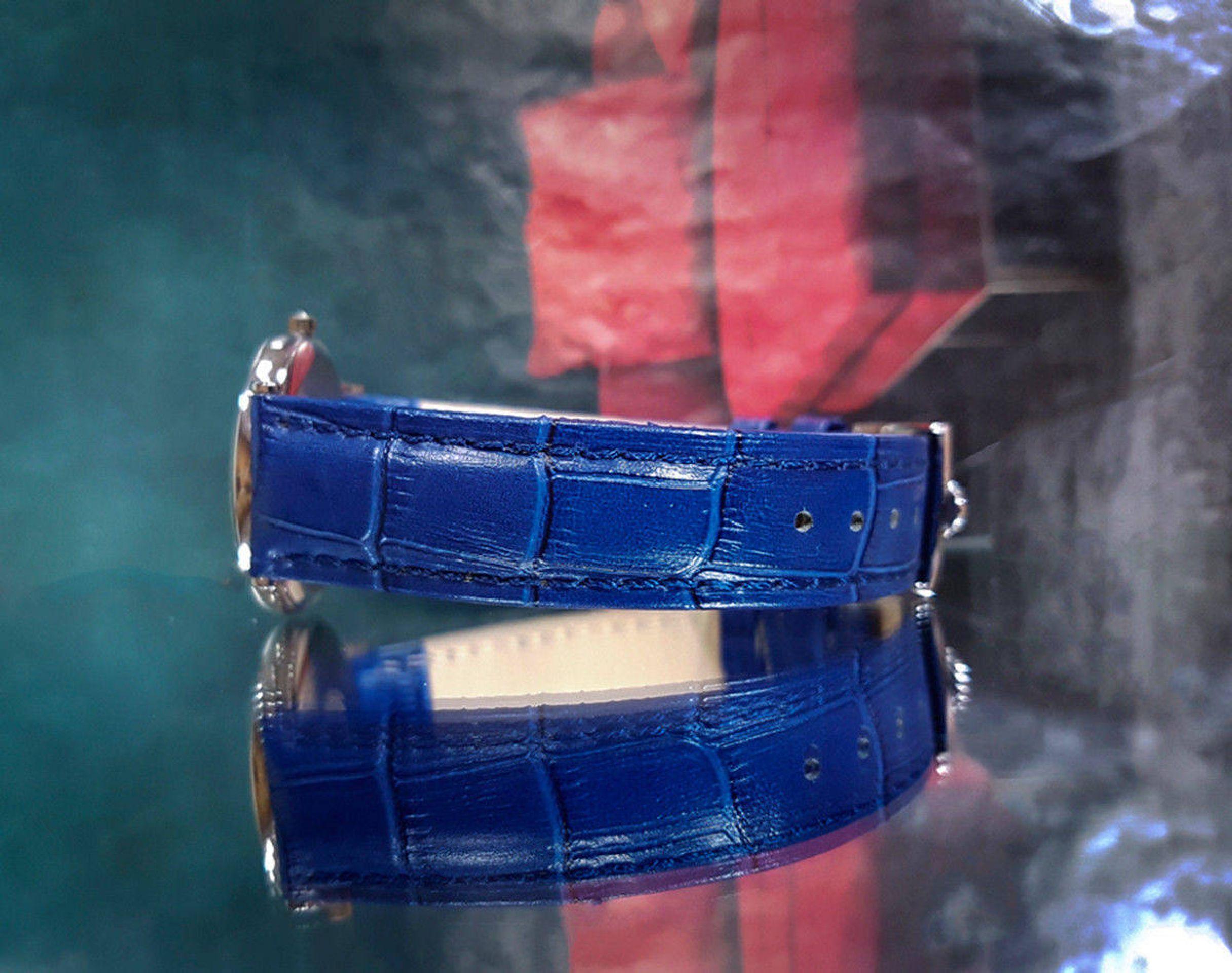 OMEGA MENS DE VILLE QUARTZ BLUE DIAL VINTAGE STAINLESS STEEL WRIST WATCH DATE