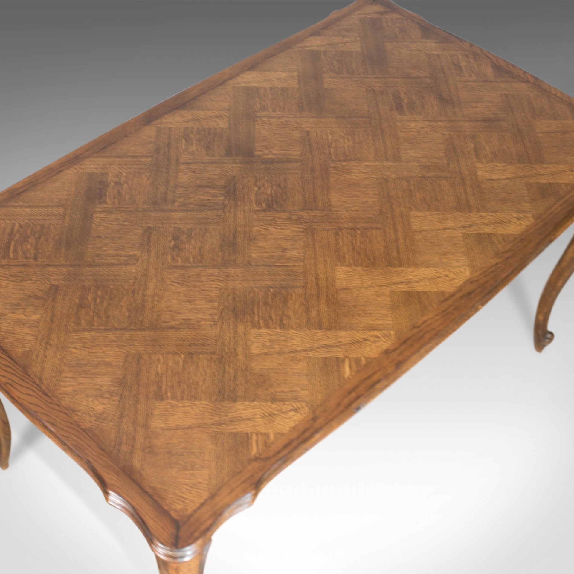 Antique Dining Table, Extending, Draw Leaf French Parquet, Seats Ten Early C20th