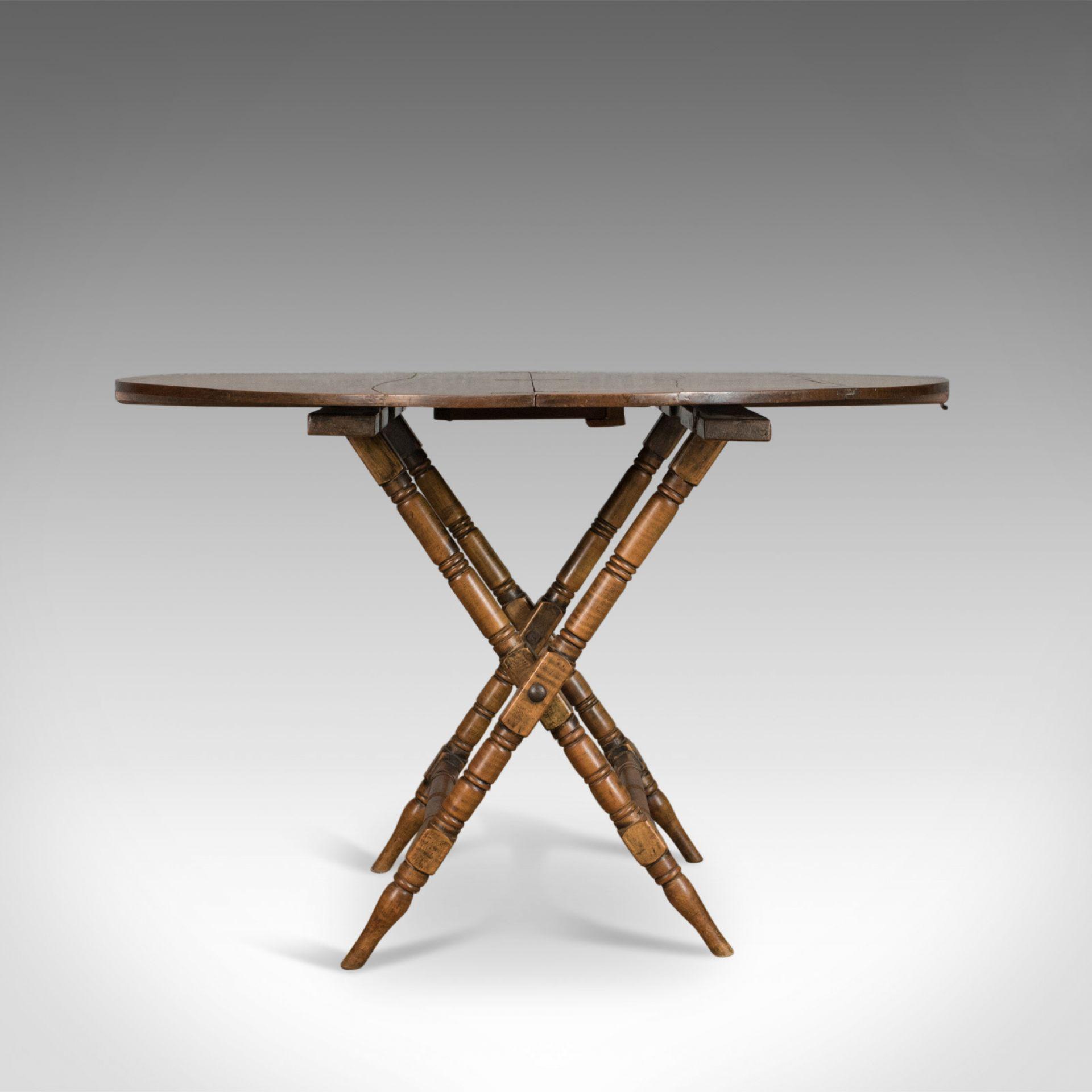 Antique Campaign Table, English, Victorian, Folding, Beech, Fruitwood Circa 1890
