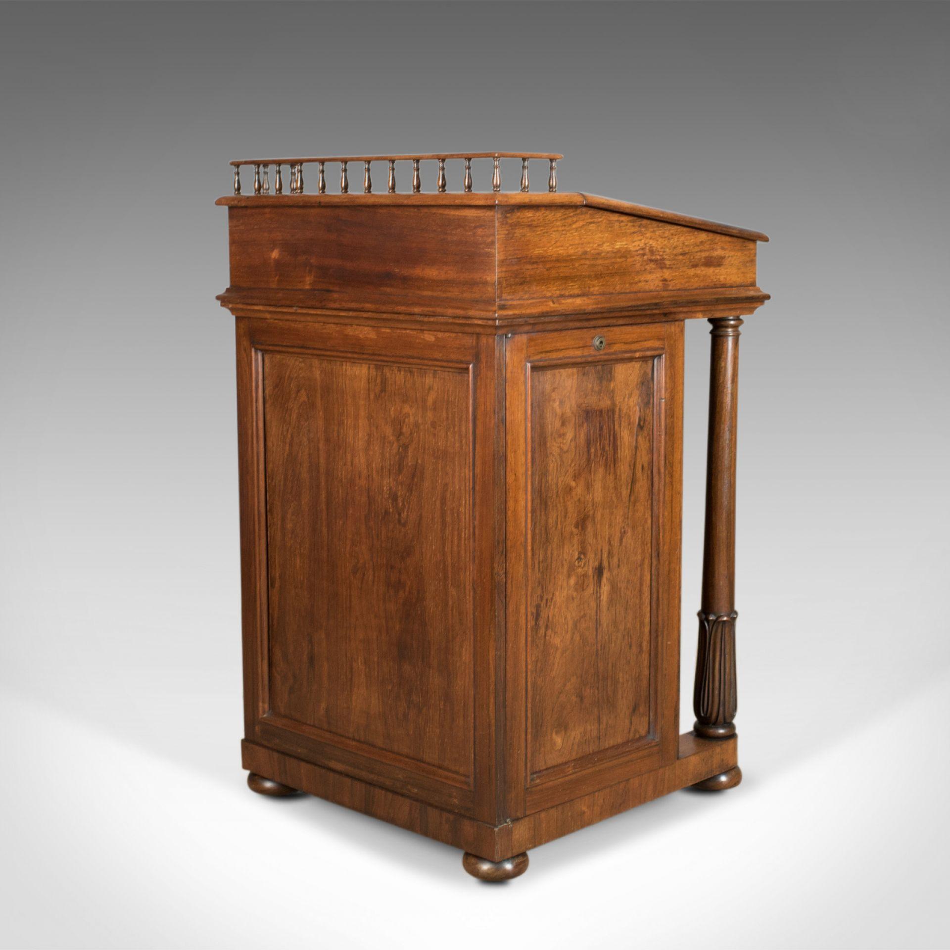 Antique Davenport, Burrey & White, Rosewood, Desk, William IV, Circa 1835