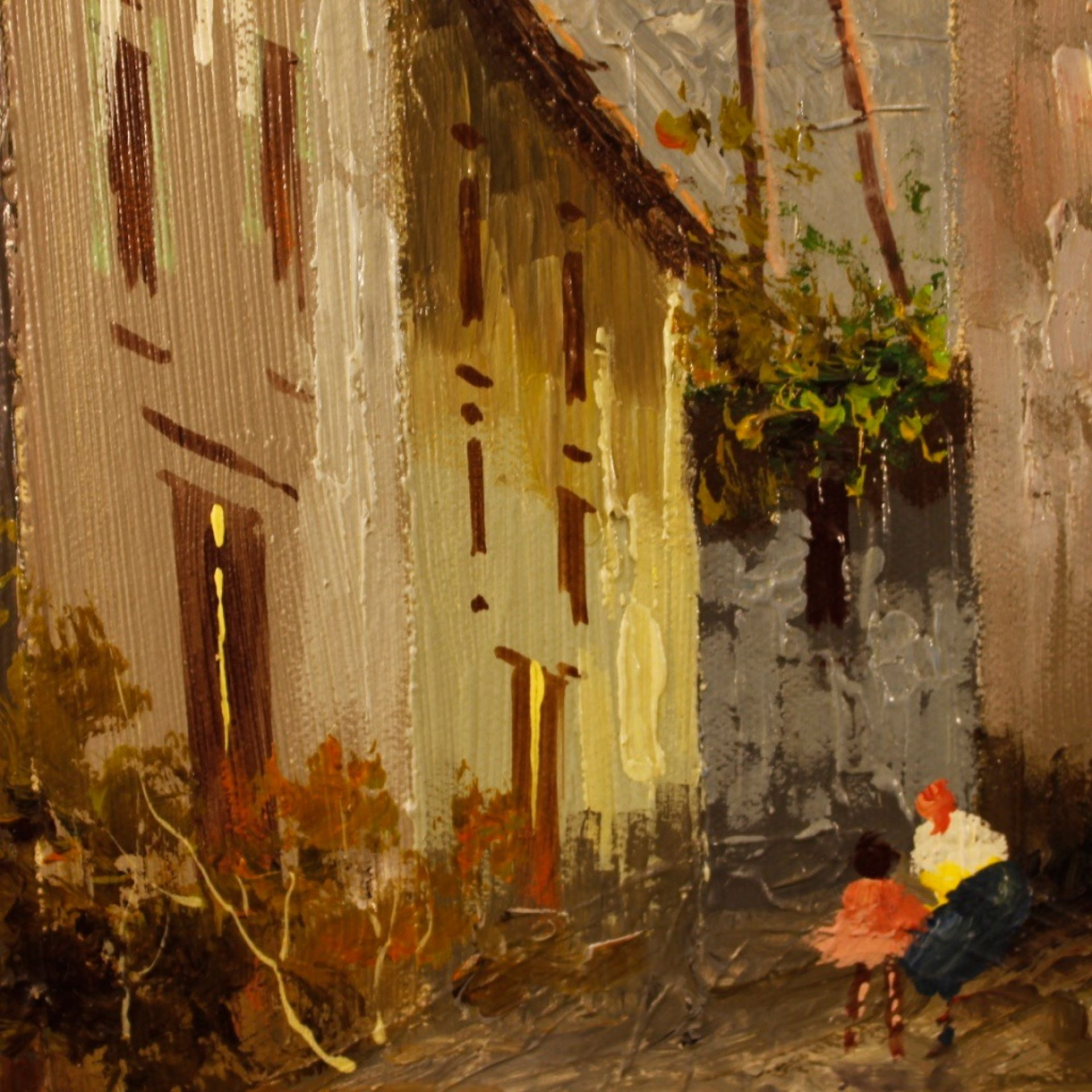Italian Landscape Painting Mixed Media On Canvas From 20th Century