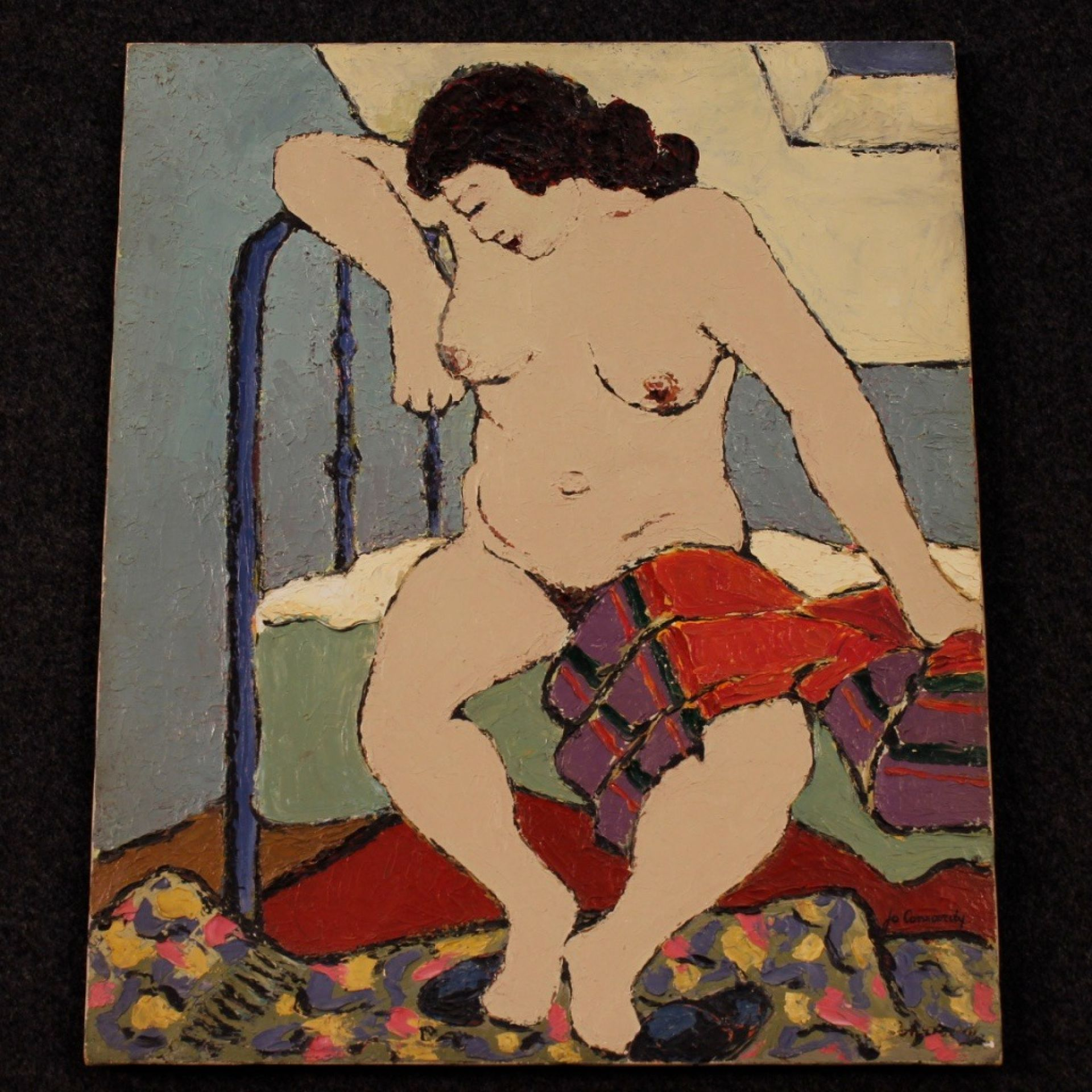 Impressionist Painting Nude Of Woman Oil On Canvas From 20th Century