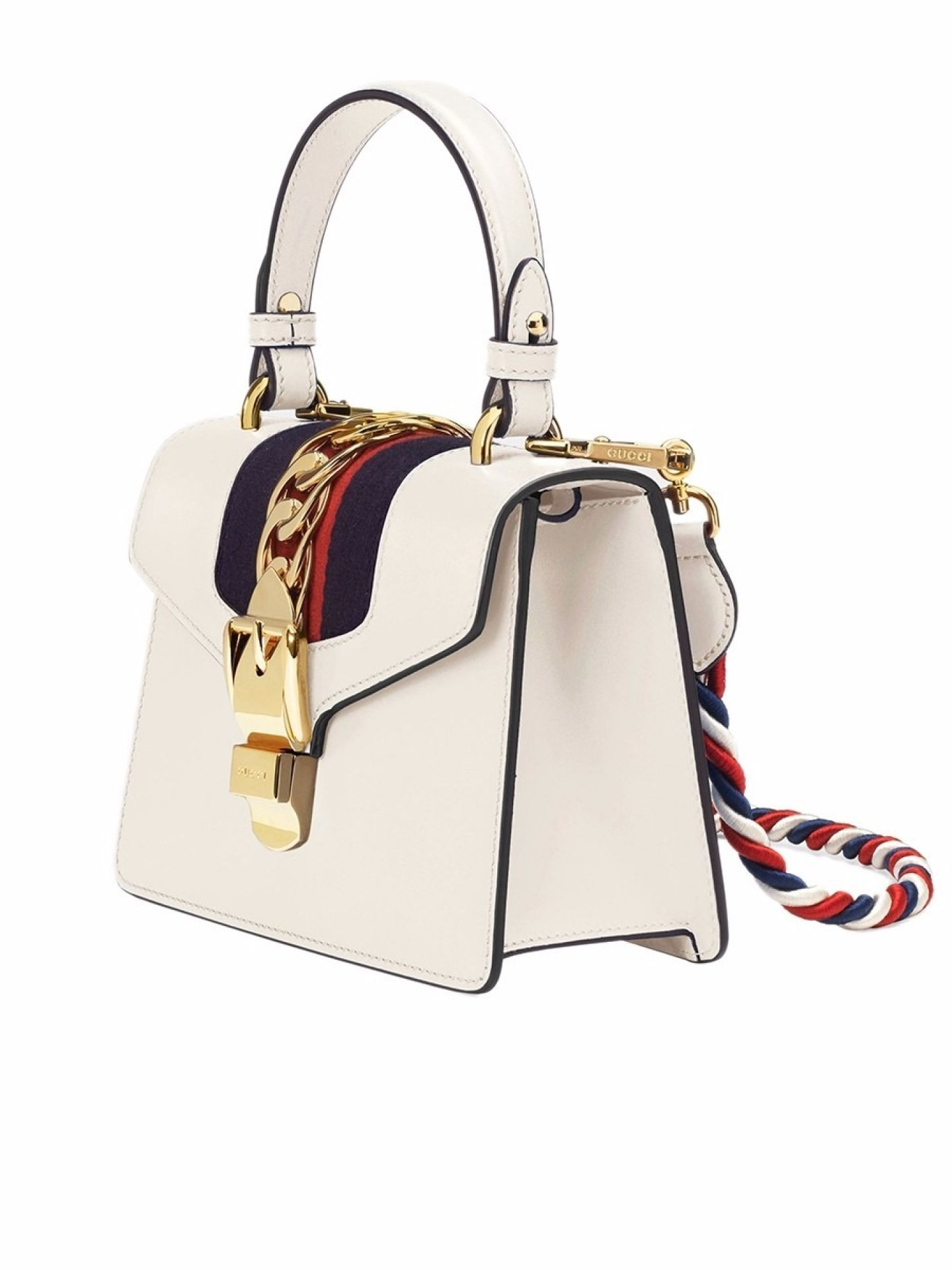 GUCCI MINI SYLVIE IVORY LEATHER CHAIN BAG