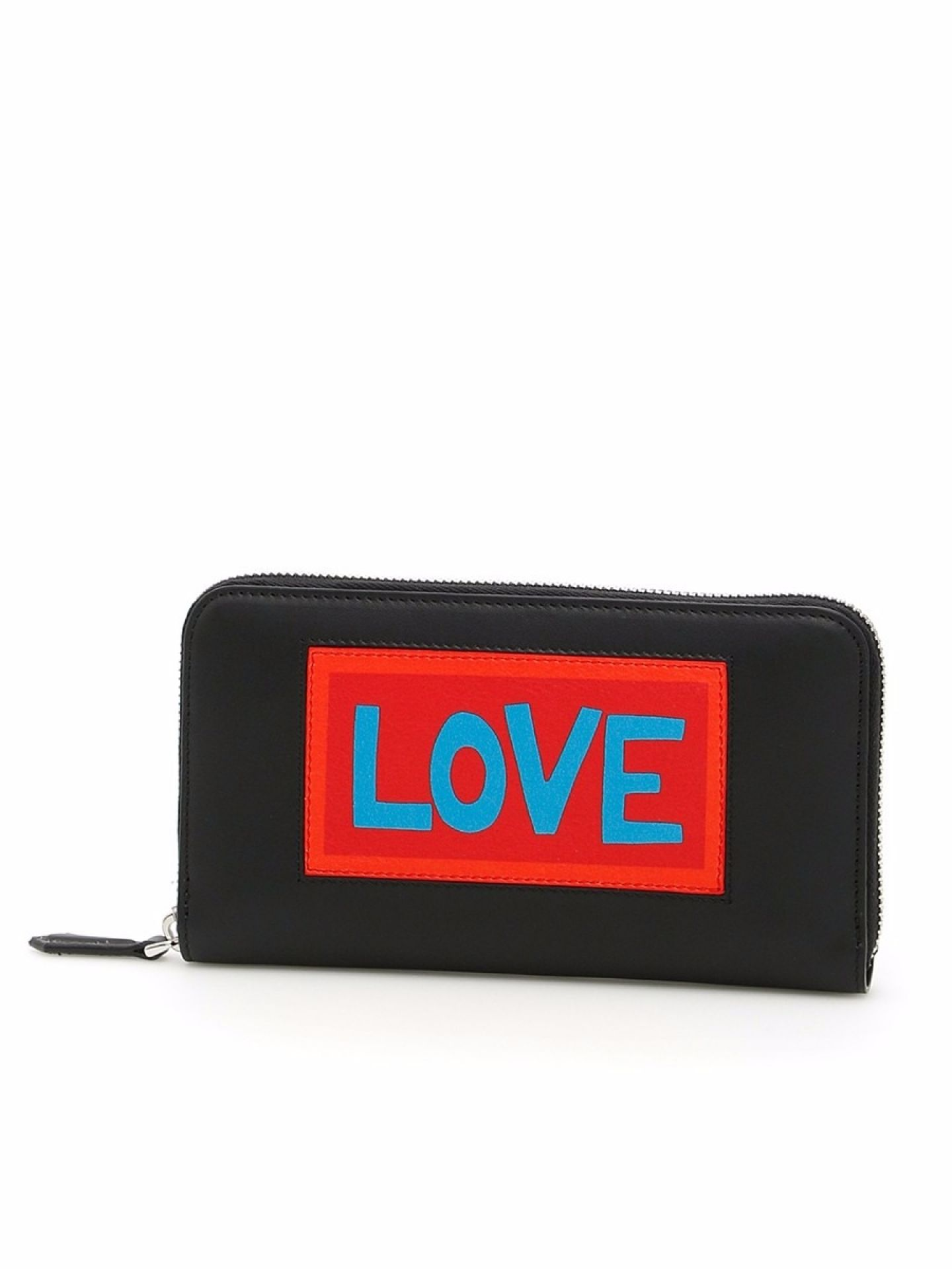 FENDI LOVE BLACK LEATHER ZIP AROUND WALLET