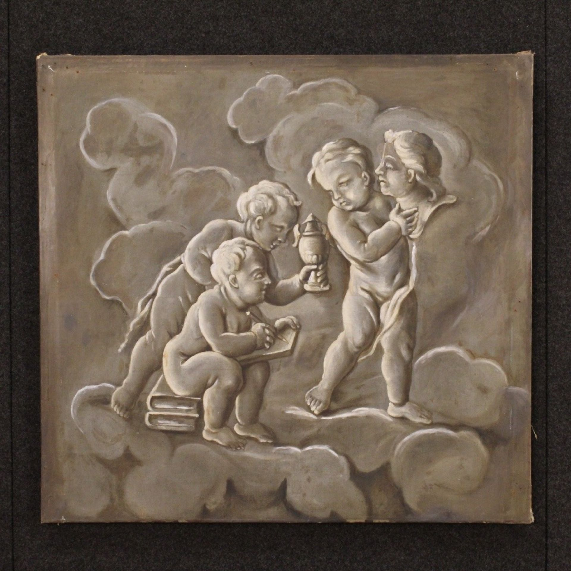 19th Century French Painting Allegory Of Sculpture With Little Angels