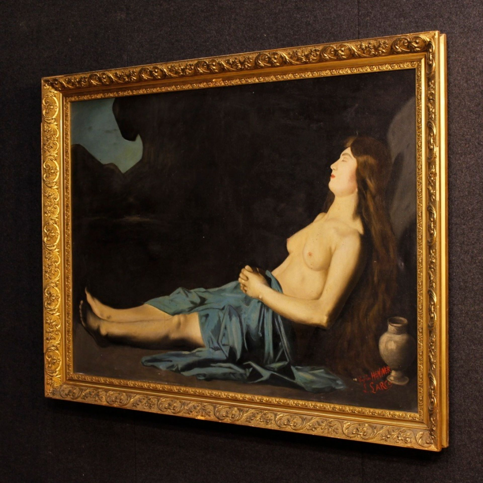 19th Century French Signed Painting Mary Magdalene