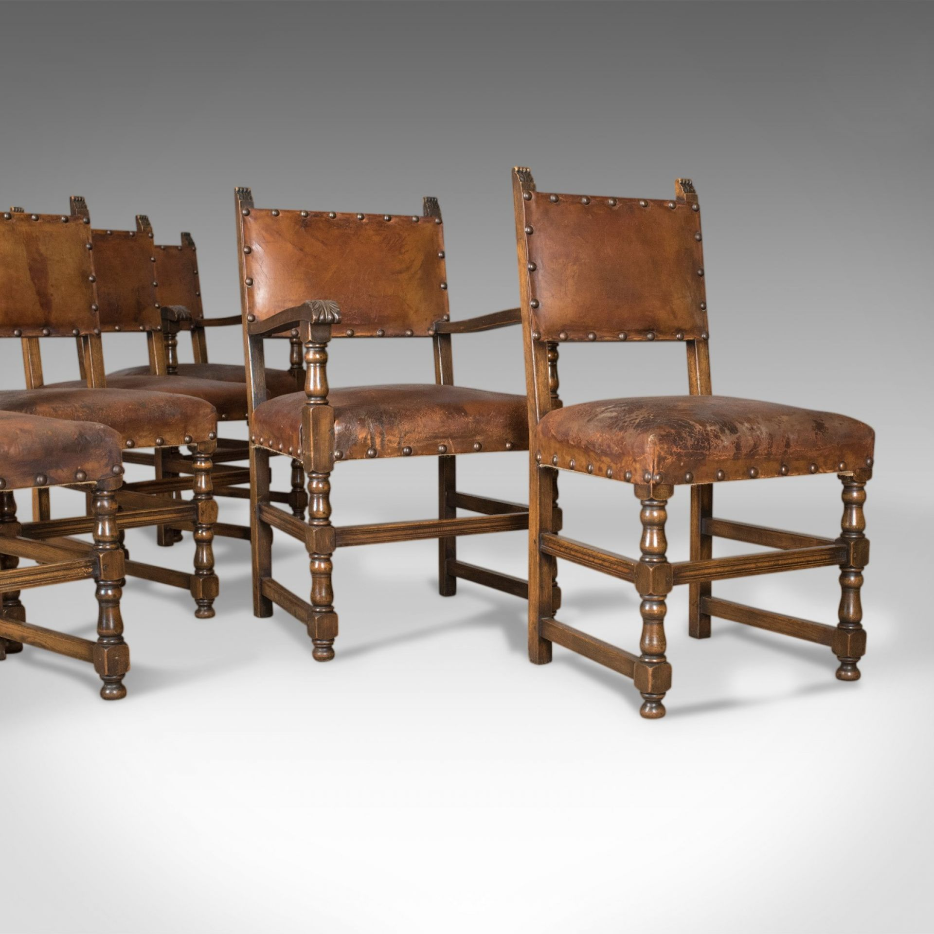 Set of Six Antique Dining Chairs, Edwardian in 17th Century Taste, Oak Leather