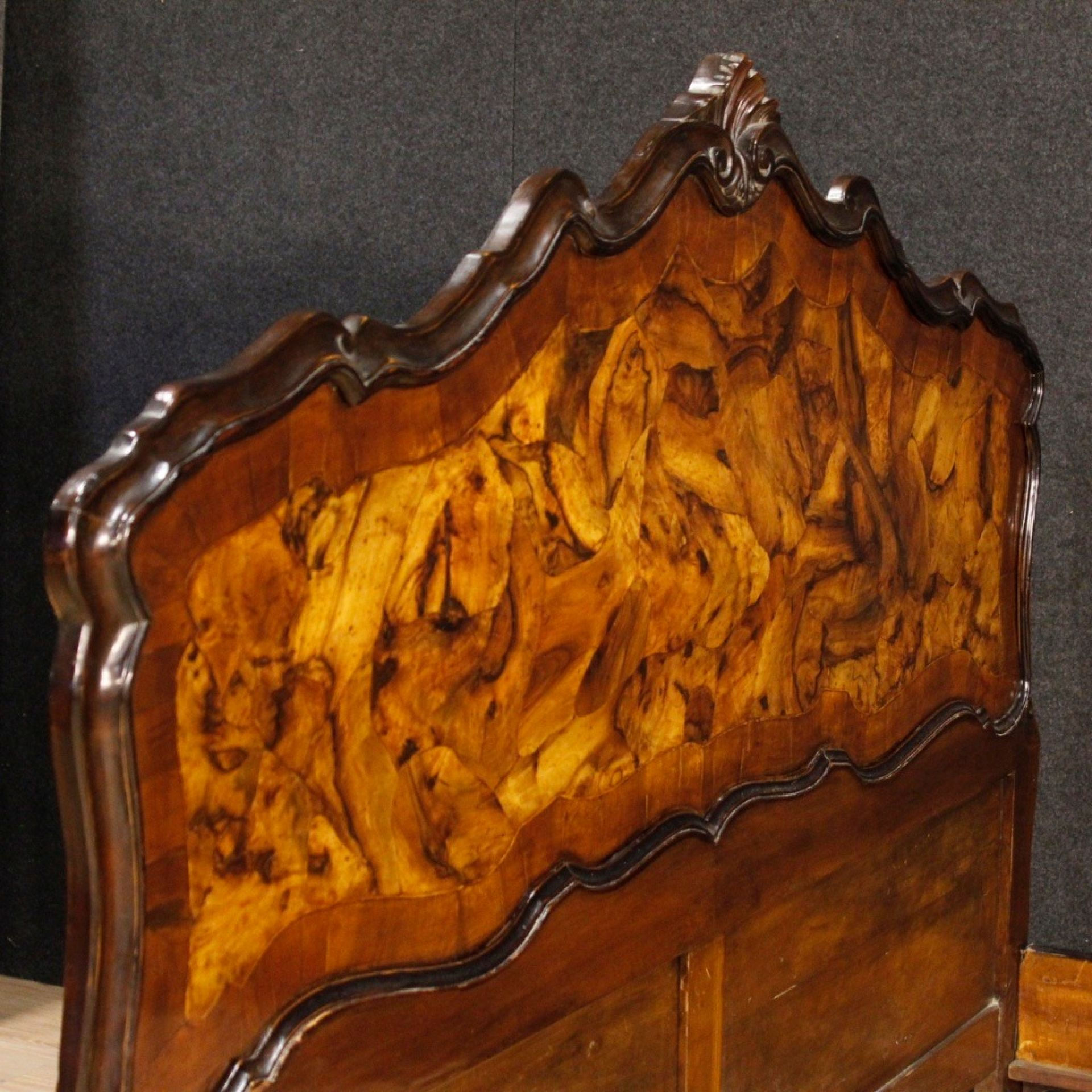 Venetian Double Bed In Walnut And Burl Wood In Louis XV Style 20th Century