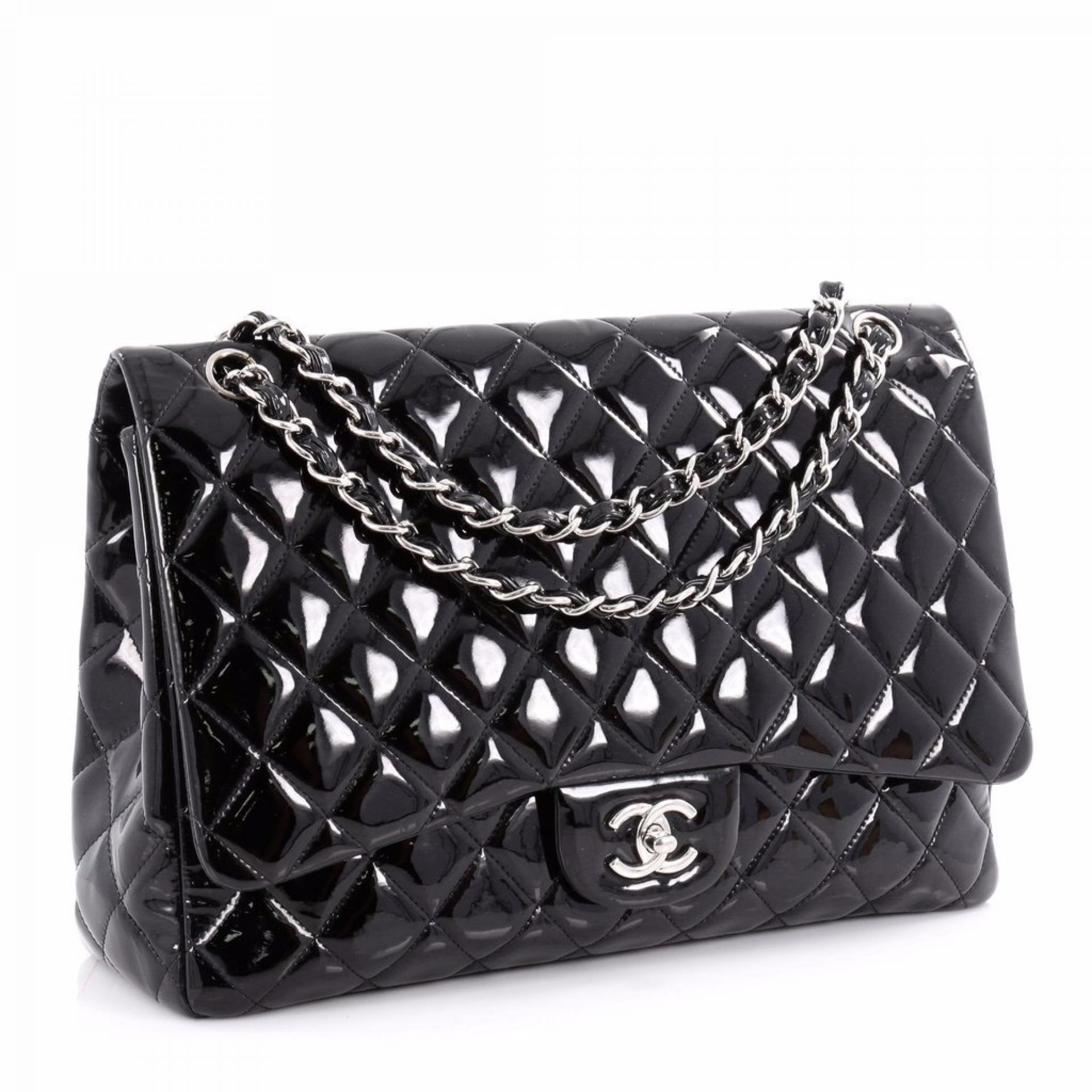 Chanel Classic Single Flap Bag Quilted Patent Maxi