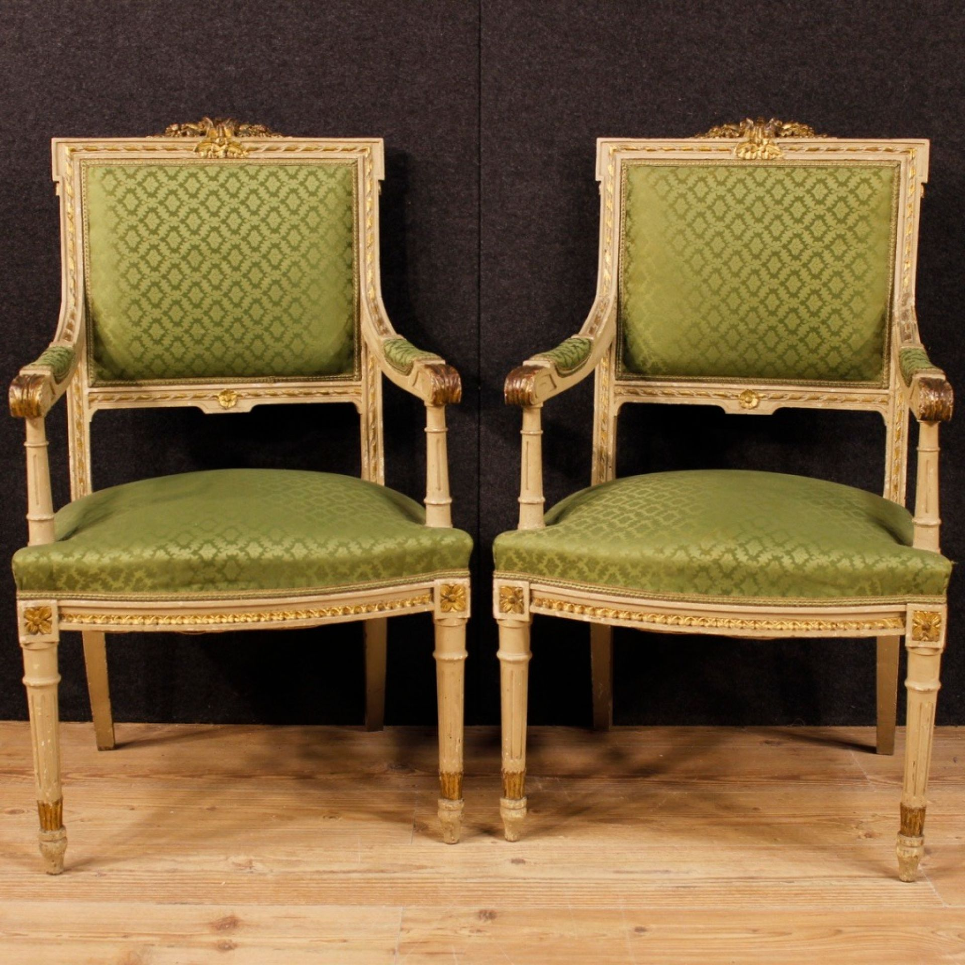 Pair Of Italian Lacquered, Carved And Gilded Armchairs In Louis XVI Style