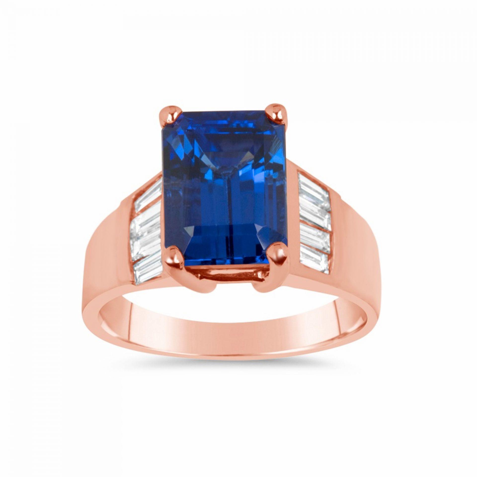 Emerald Cut Tanzanite & White Diamond Ring R103748-R