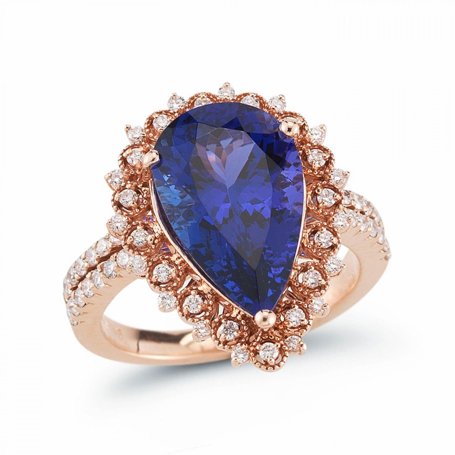 Pear Shape Tanzanite & Diamond Ring R106028-2R