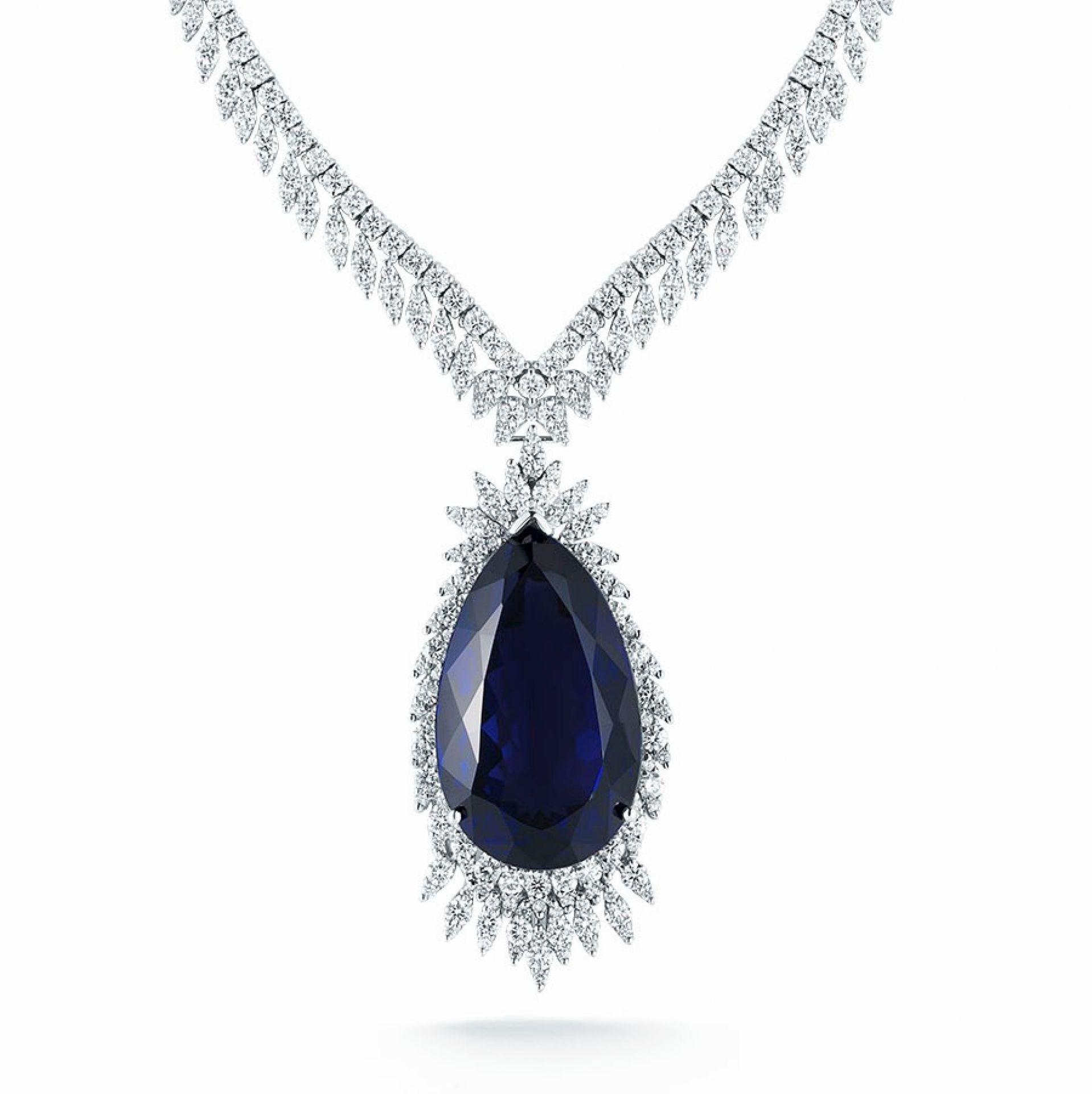 Pear Shape Tanzanite & Diamond Necklace N105382-1W