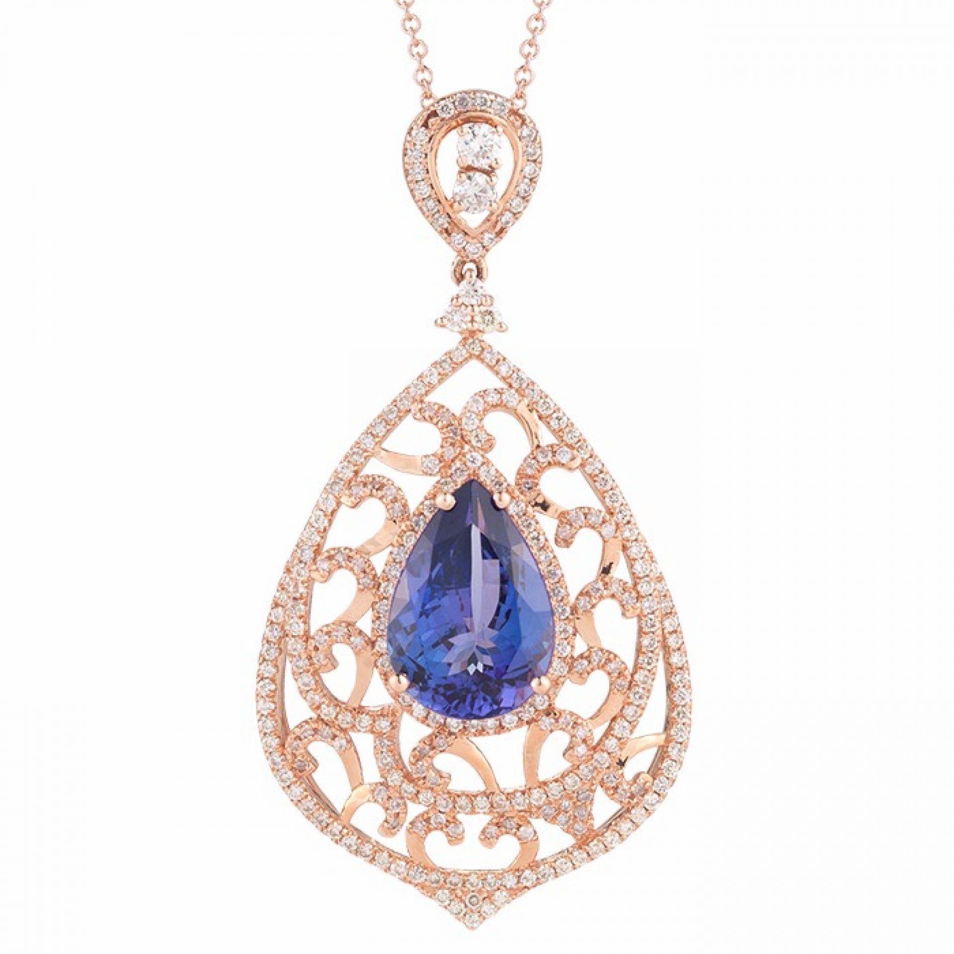 Pear Shape Tanzanite and Diamond Pendant P104624-1R