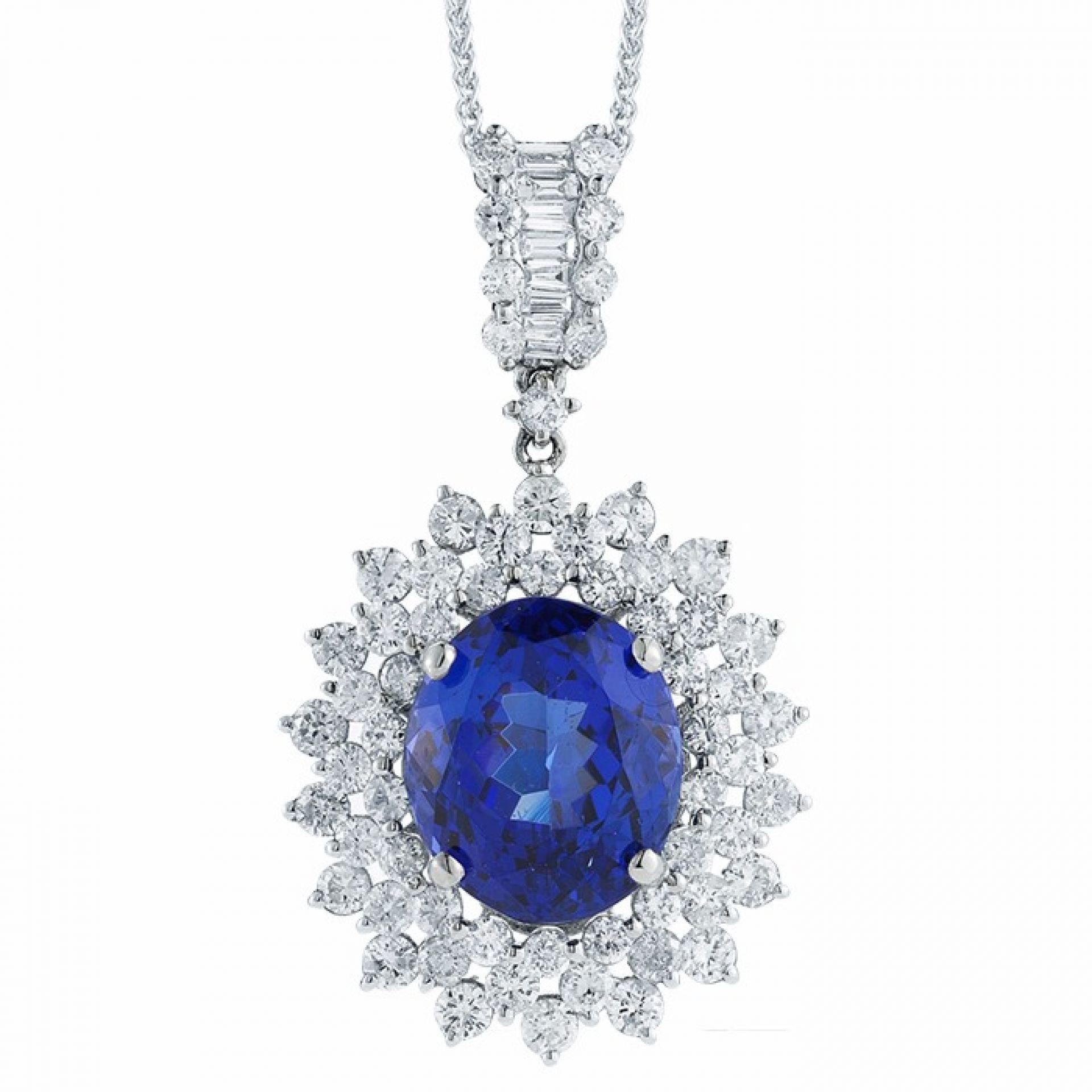 Oval Tanzanite and Diamond Pendant P105727-1W