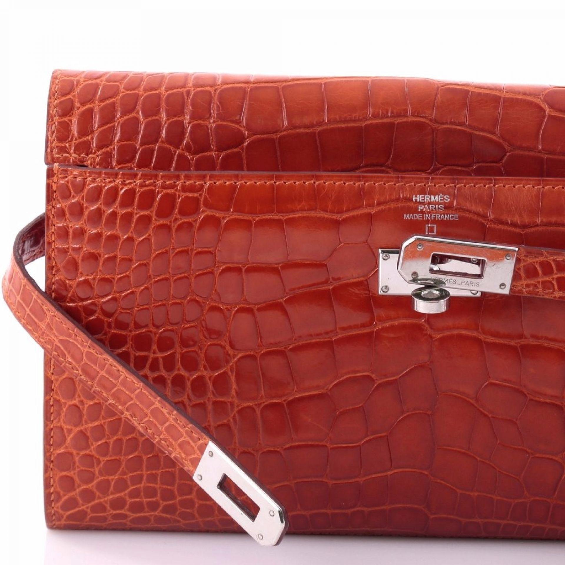 Hermes Kelly Wallet Shiny Alligator Long