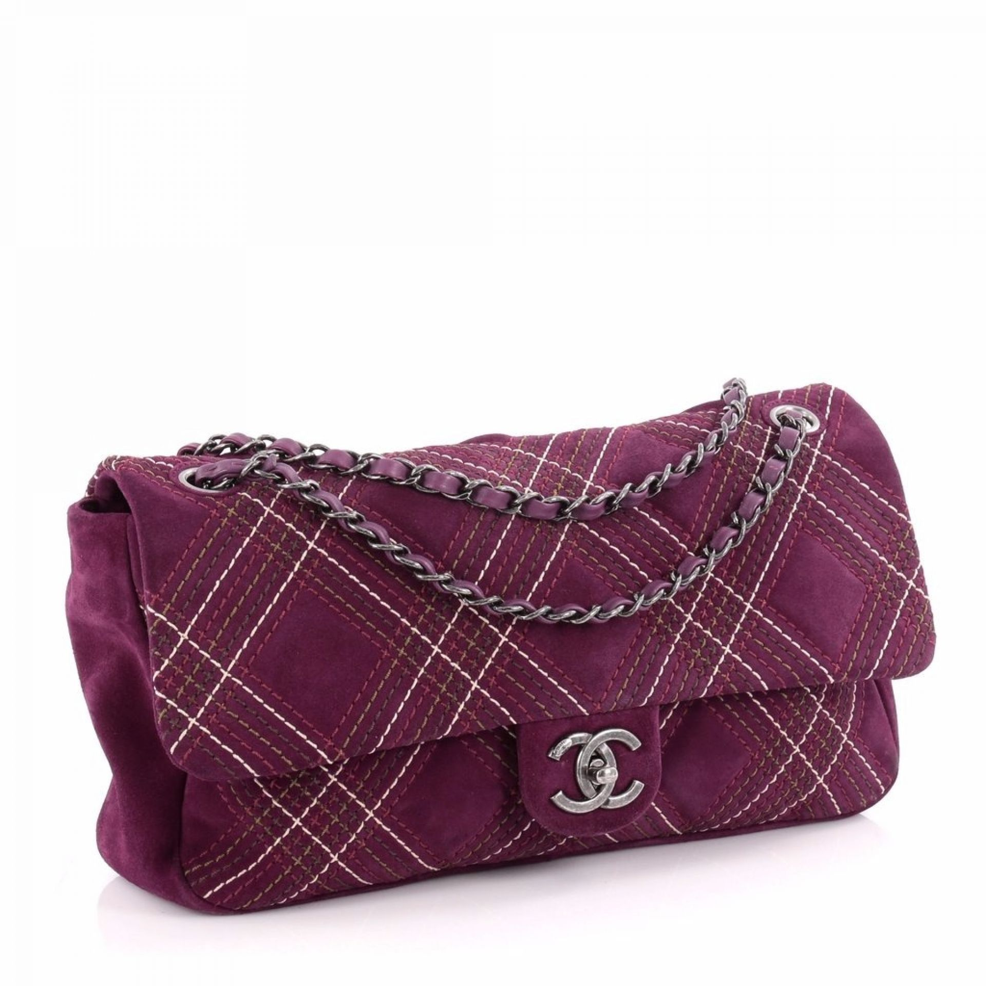 Chanel Chanel Saltire Flap Bag Stitched Suede Medium