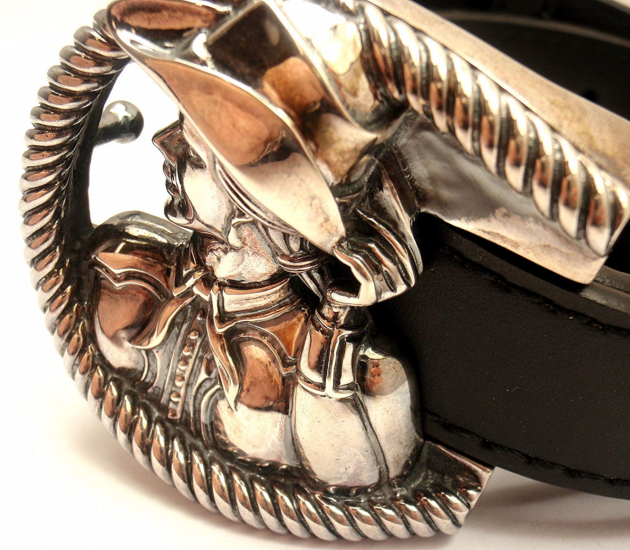 B. KIESELSTEIN CORD STERLING SILVER COWGIRL MUSEUM HALL OF FAME LEATHER BELT