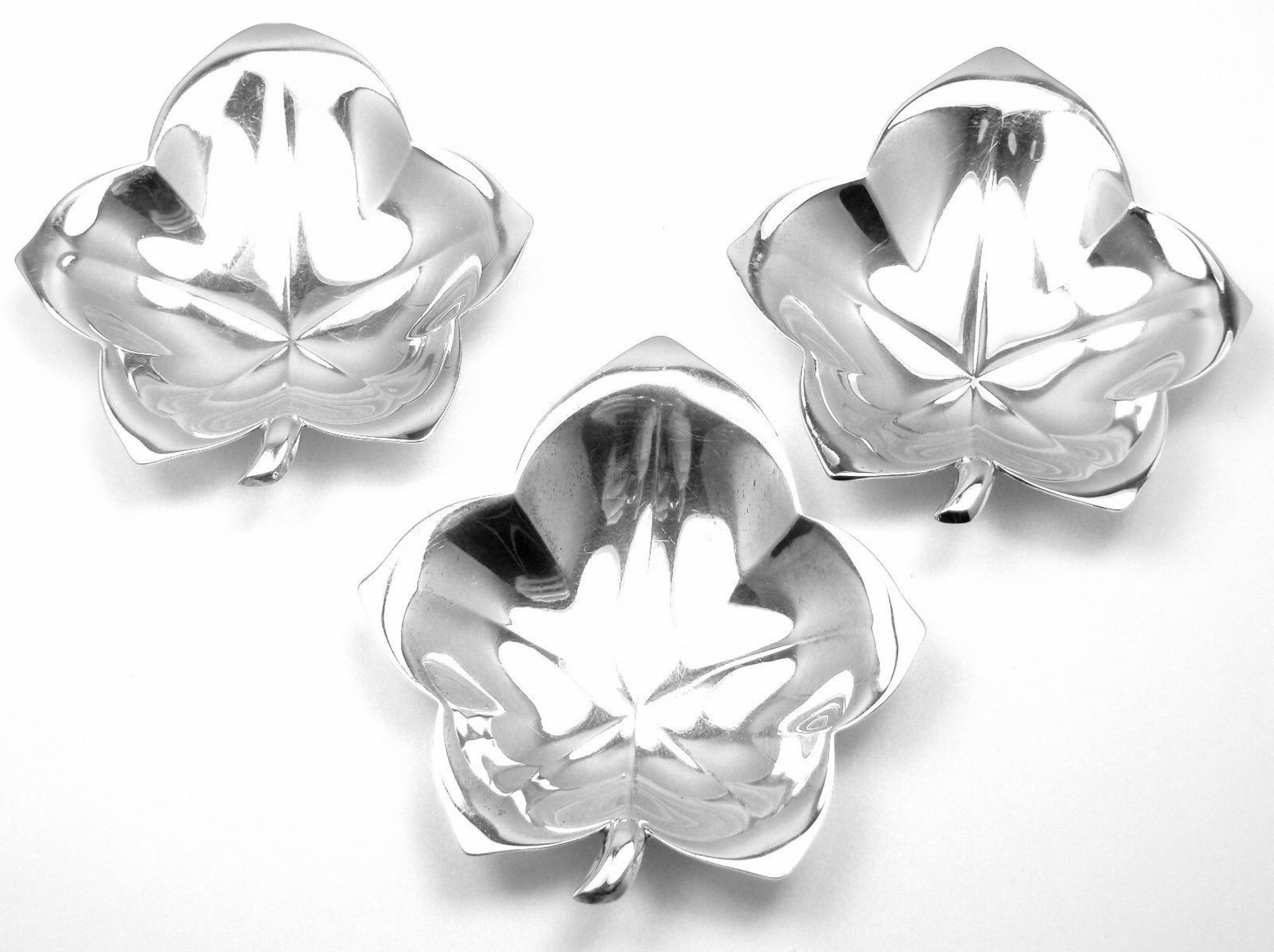 AUTHENTIC! 3 SET TIFFANY & CO STERLING SILVER LEAF SHAPE CANDY AND NUT DISH
