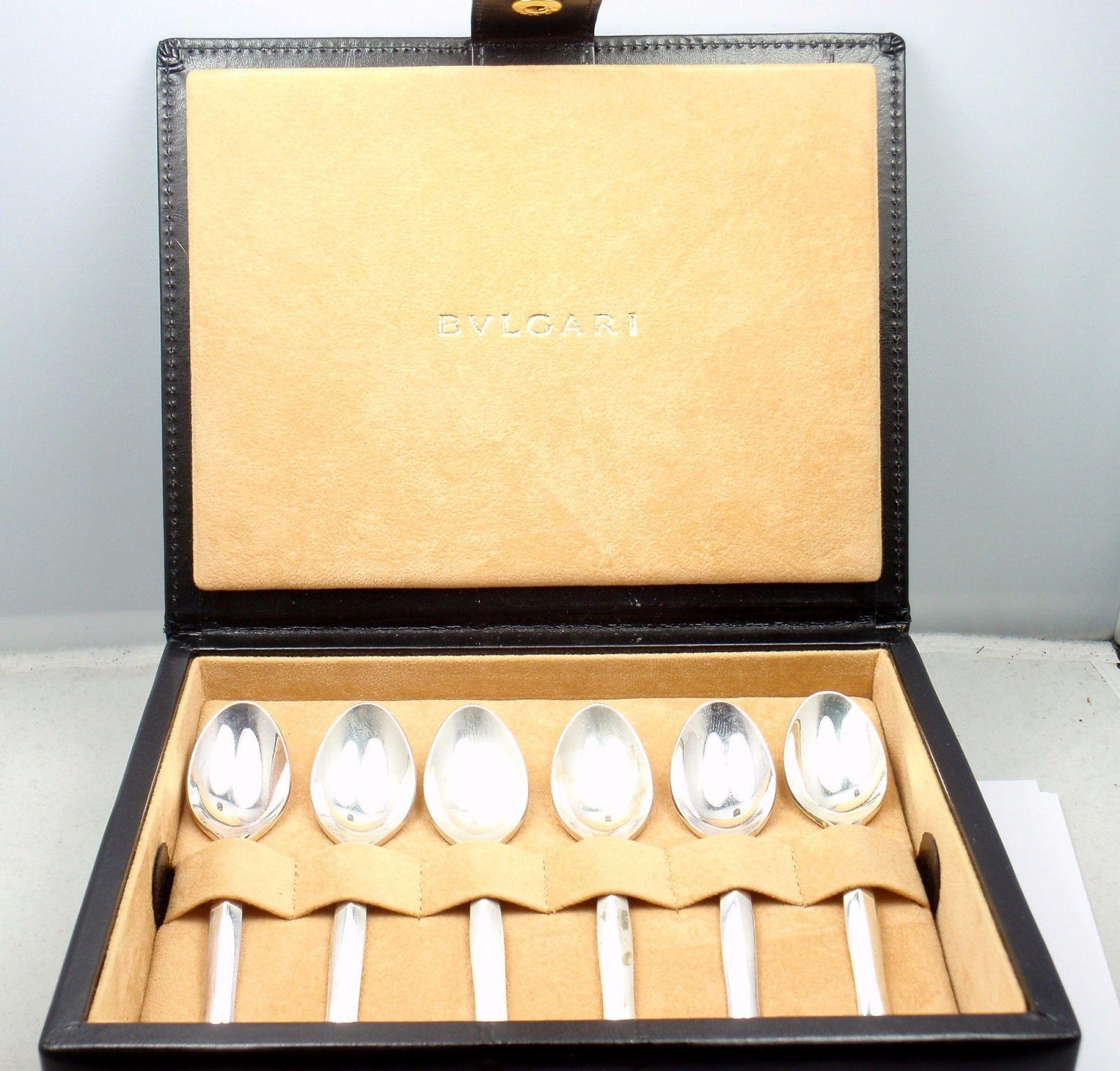 RARE Bulgari Bvlgari Sterling Silver Demi Tasse Spoon Set of 6 with Leather Case