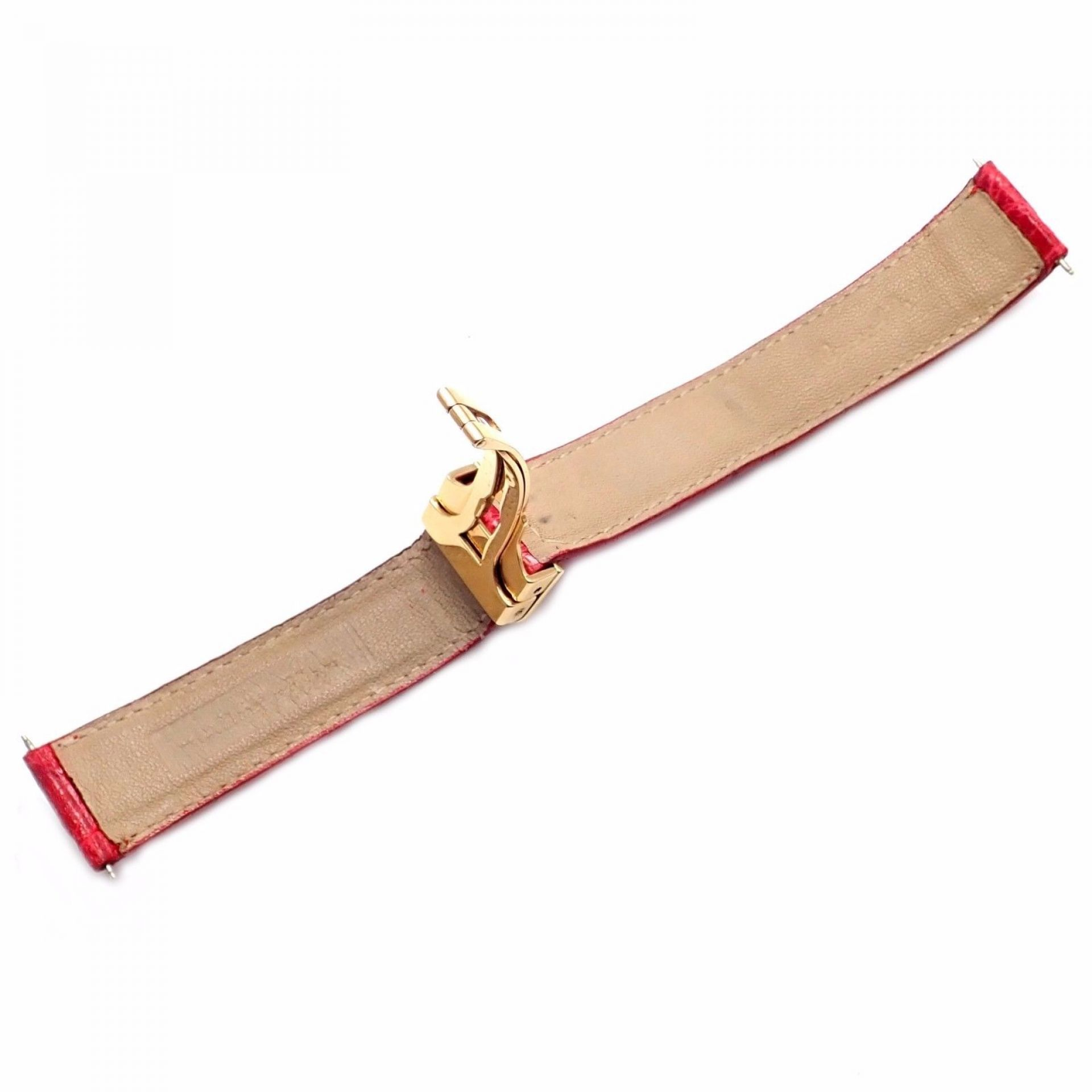 Rare! Bright Cartier Red 18k Yellow Gold Deployment Buckle Crocodile Band 17mm