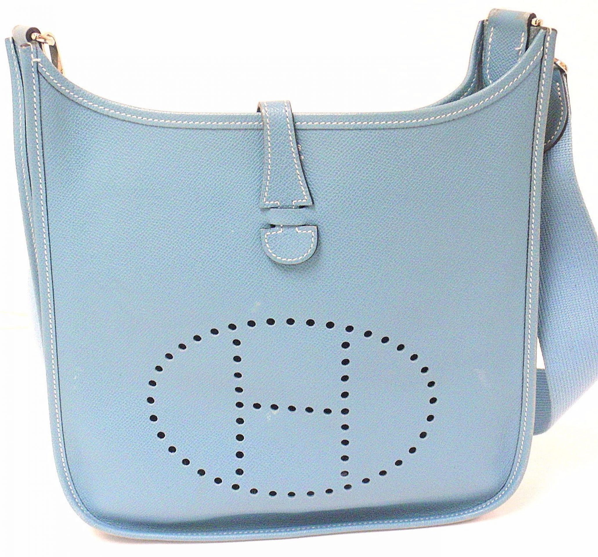 AUTHENTIC! HERMES EVELYNE PM BLUE JEAN EPSOM LEATHER SHW SHOULDER BAG