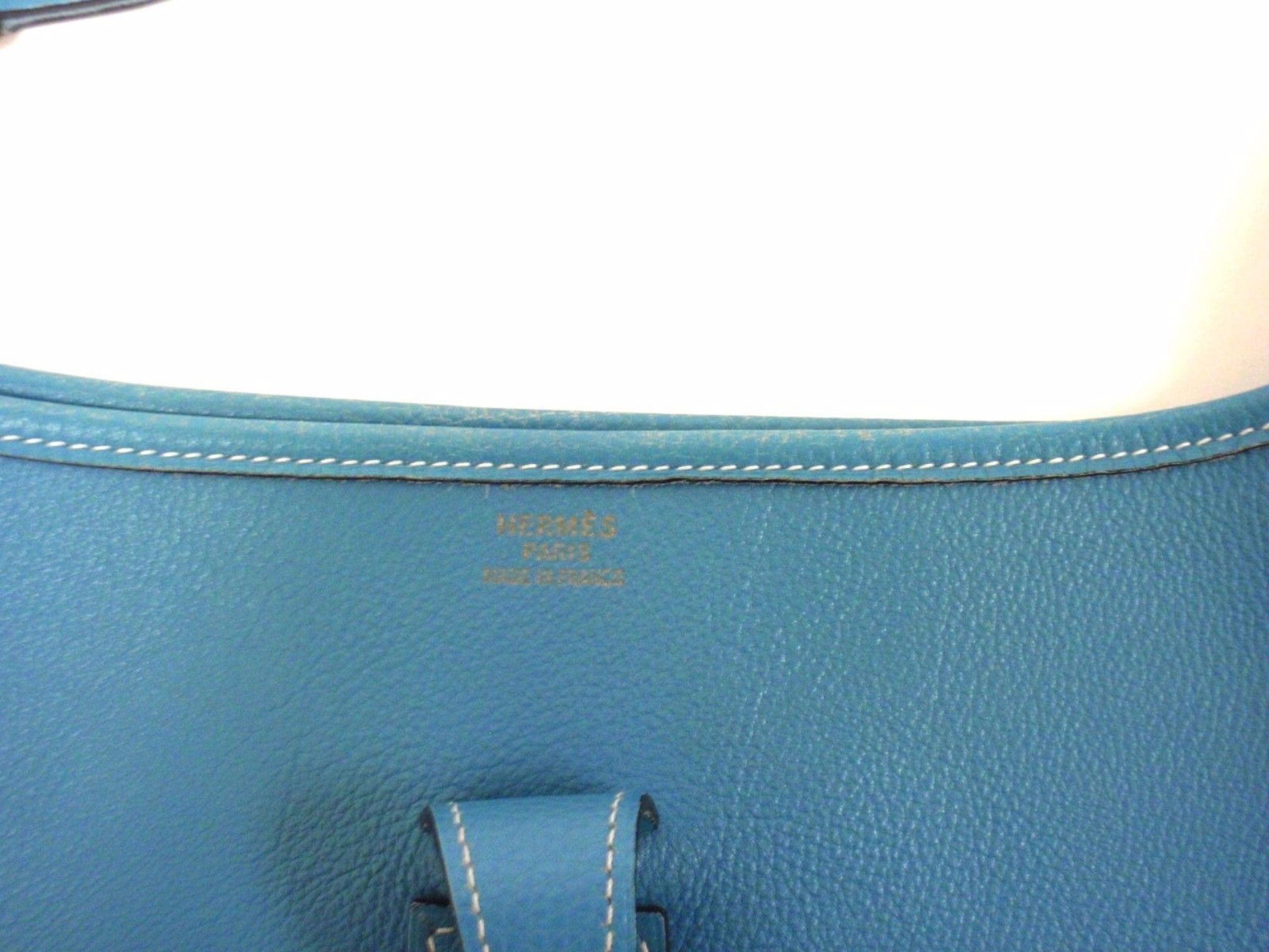 AUTHENTIC! HERMES EVELYNE GM BLUE JEAN CLEMENCE LEATHER GHW SHOULDER BAG