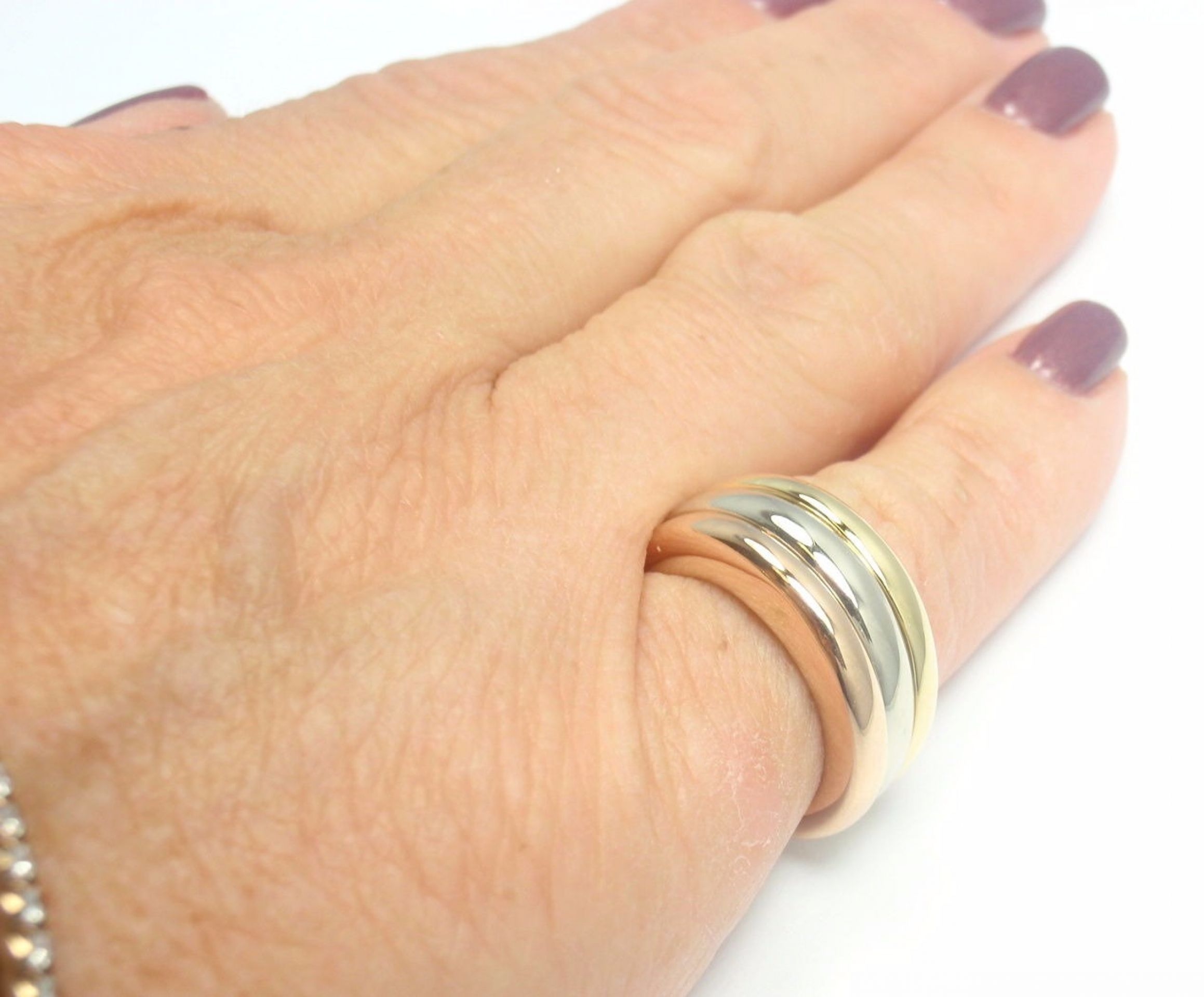 RARE! AUTHENTIC CARTIER 18K TRI-GOLD STACKING BAND RING, SIZE 48 US 4 3/4