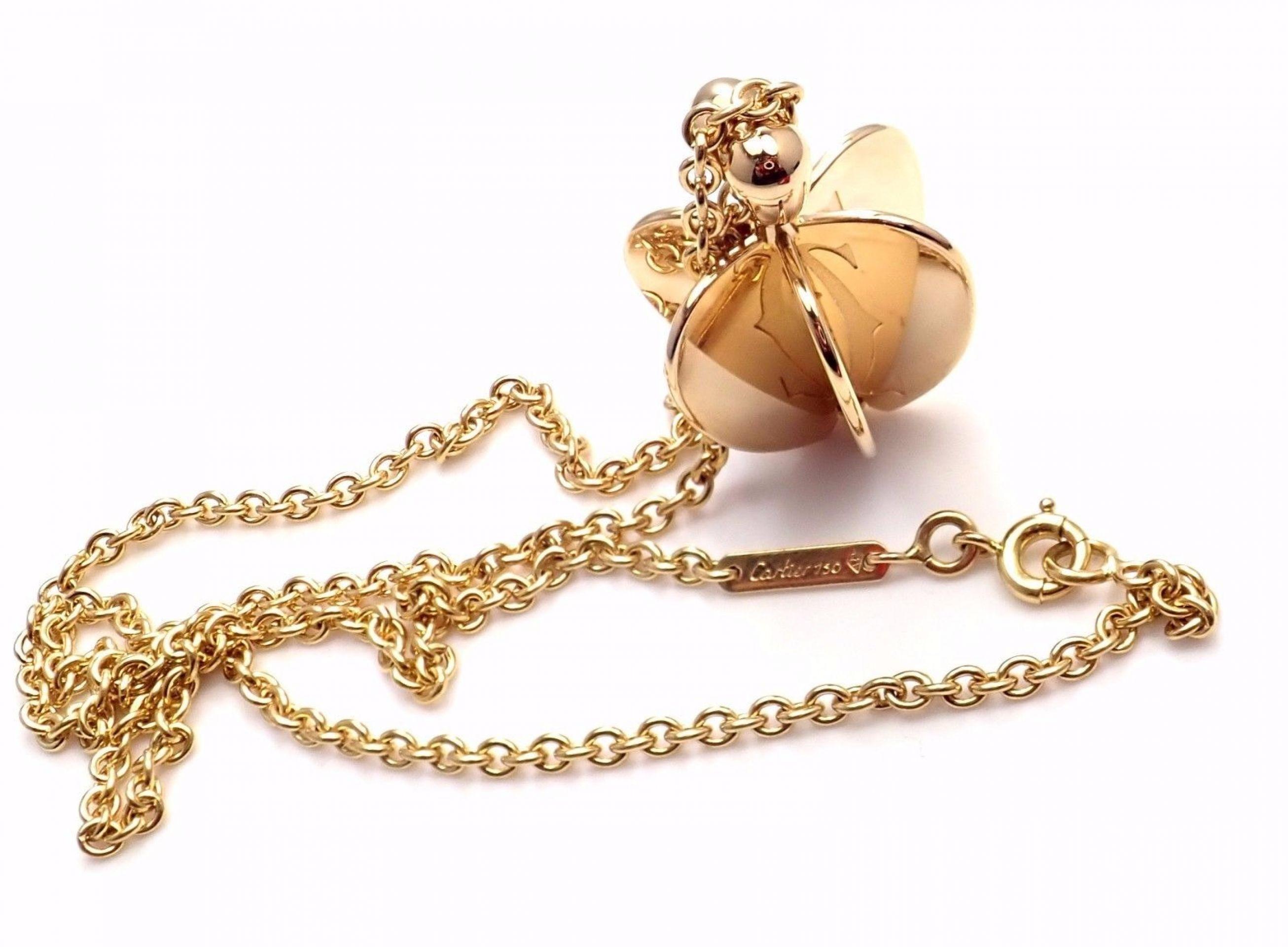 Authentic! Cartier 18k Yellow Gold Double C Apple Heart Pendant Chain Necklace