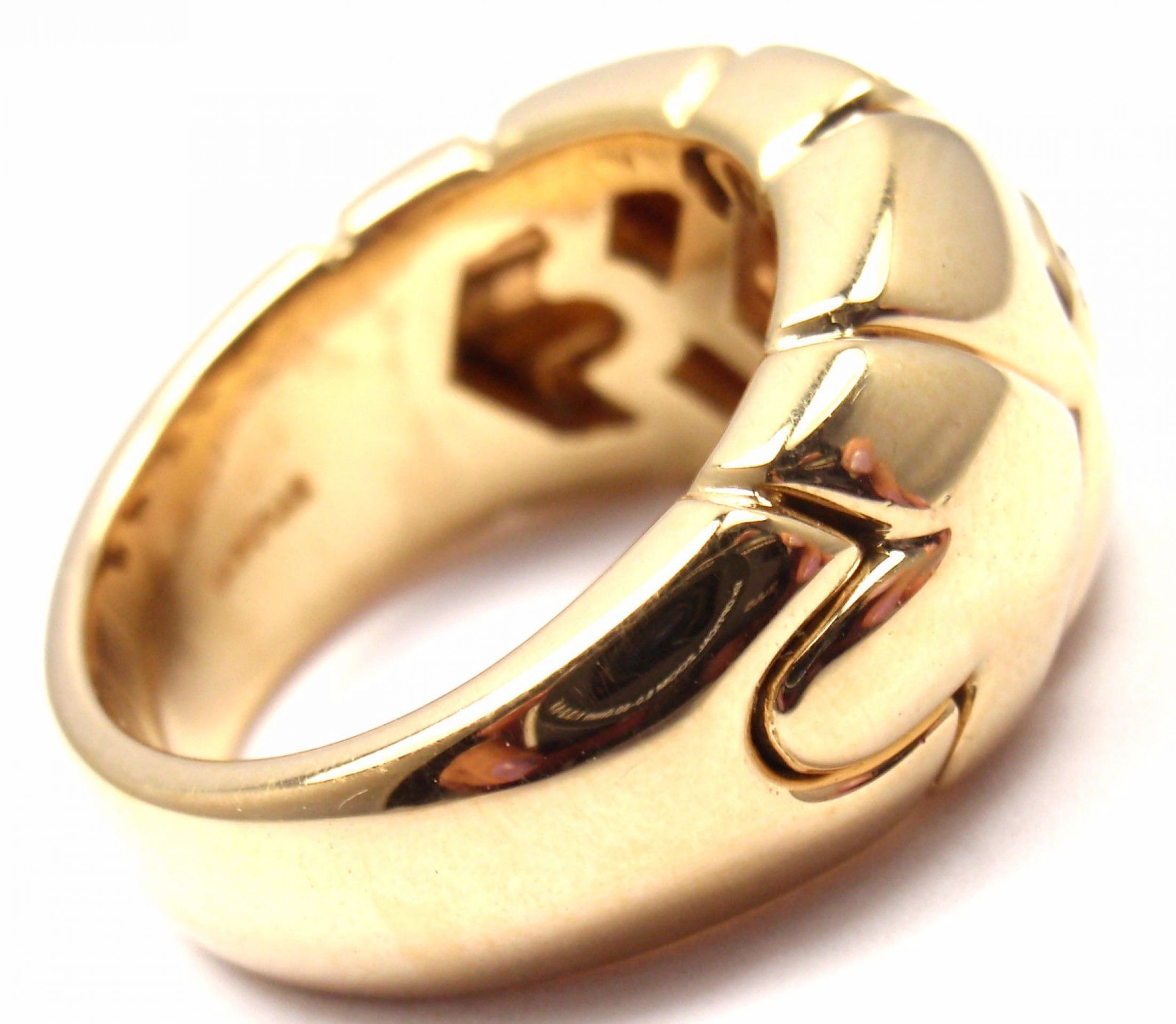 Authentic! Bulgari Bvlgari 18k Yellow Gold Diamond Arrow Wide Band Ring