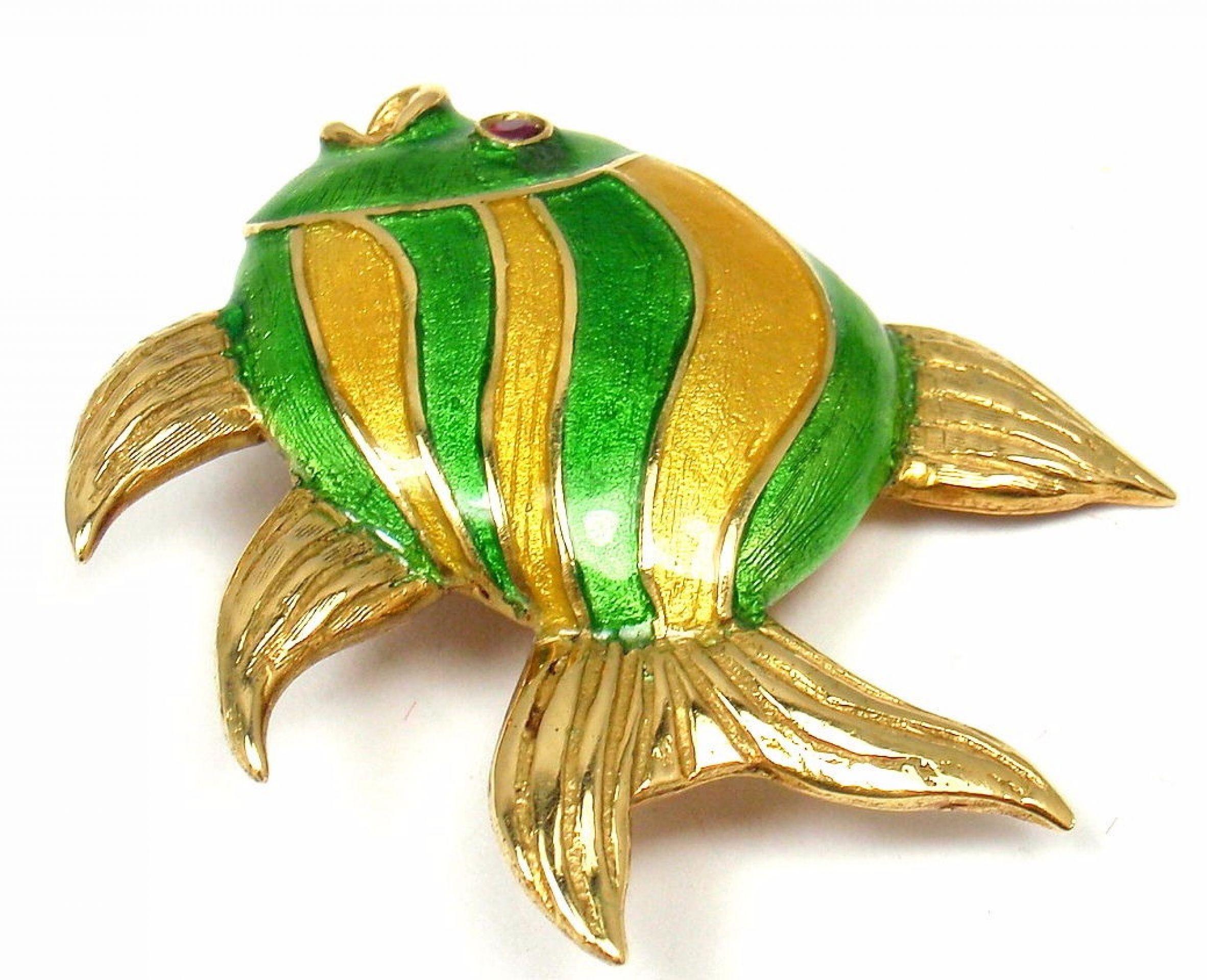 Rare Vintage Cartier 18k Yellow Gold Enamel Animalia Peacock Fish Brooch Pin