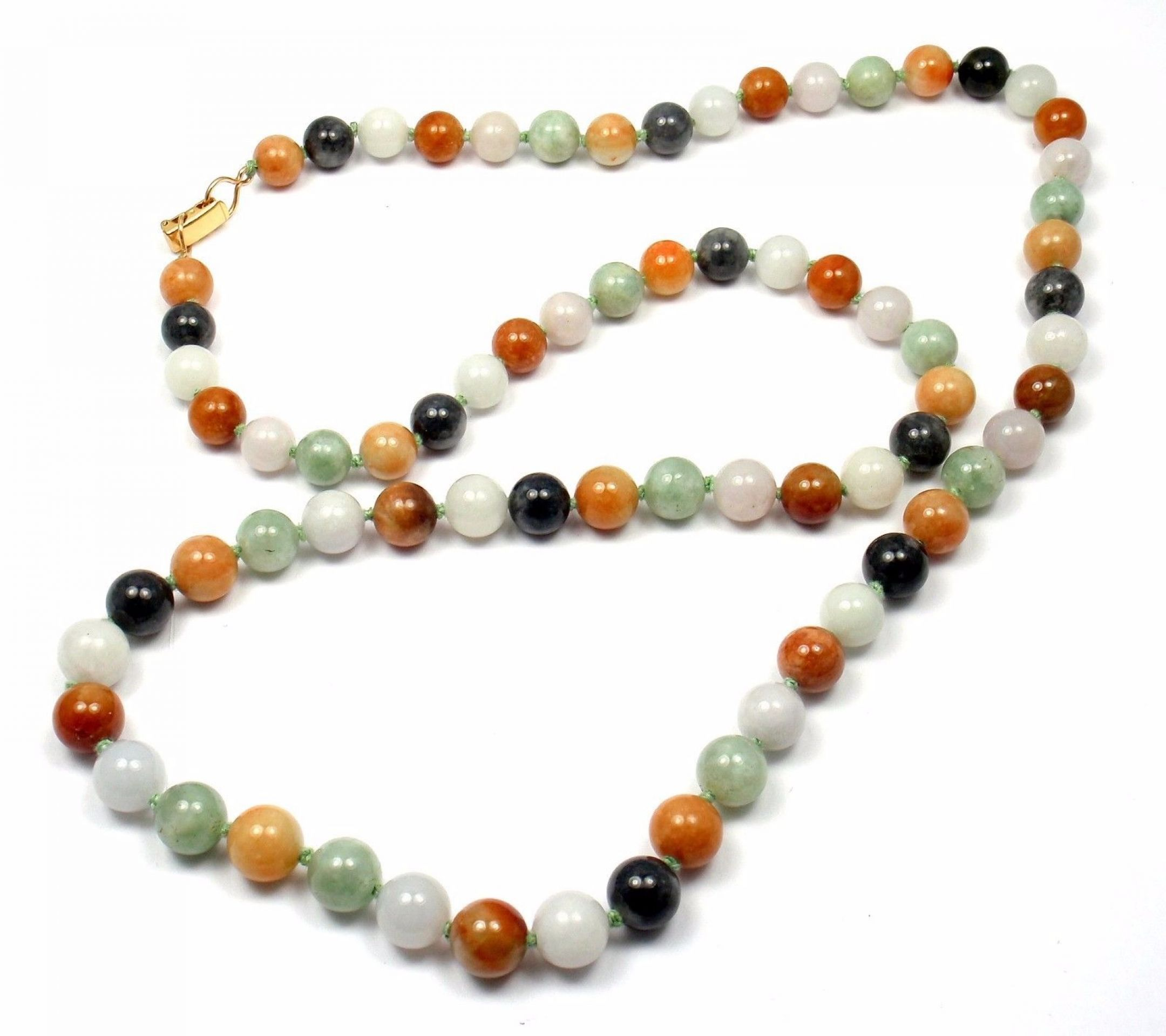 """Vintage Ming's 14k Yellow Gold Long Multi Color Jade 10mm Necklace 31"""""""