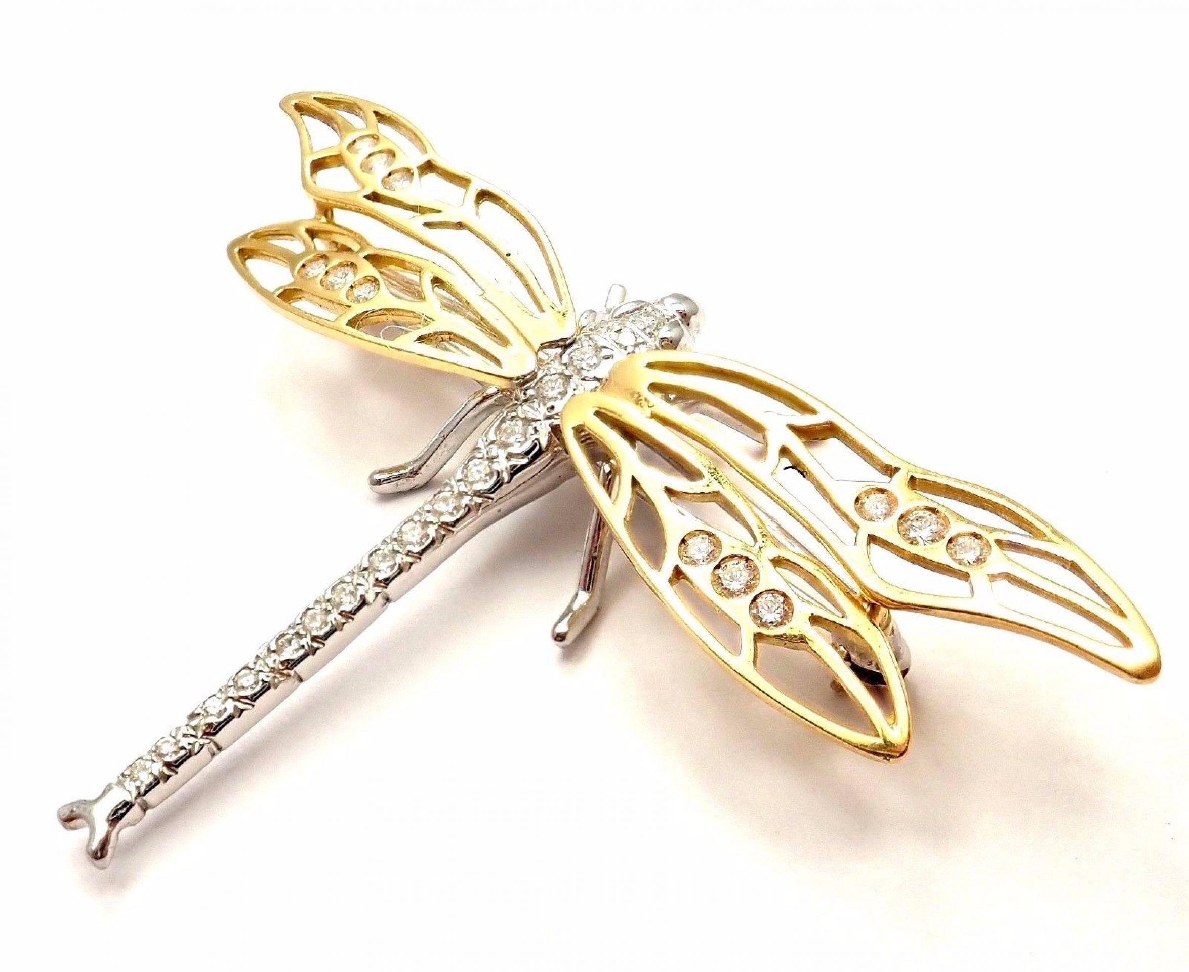 Vintage Henry Dankner 18k Yellow White Gold Diamond Dragonfly Pin Brooch