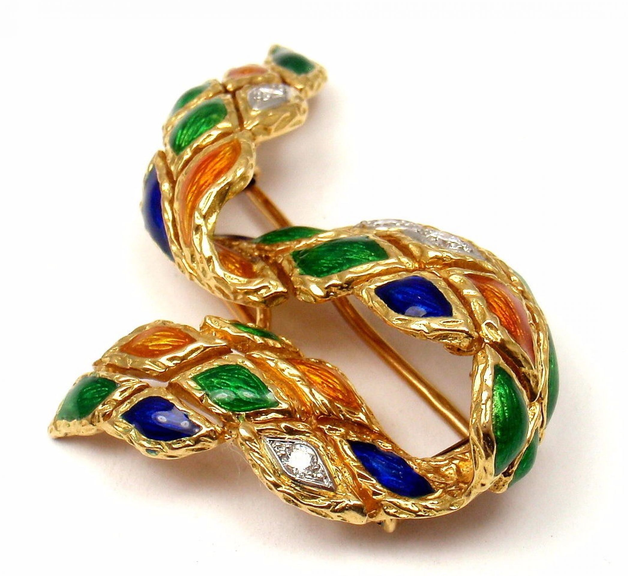 Vintage French Mauboussin 18k Yellow Gold Enamel Harlequin Diamond Brooch Pin