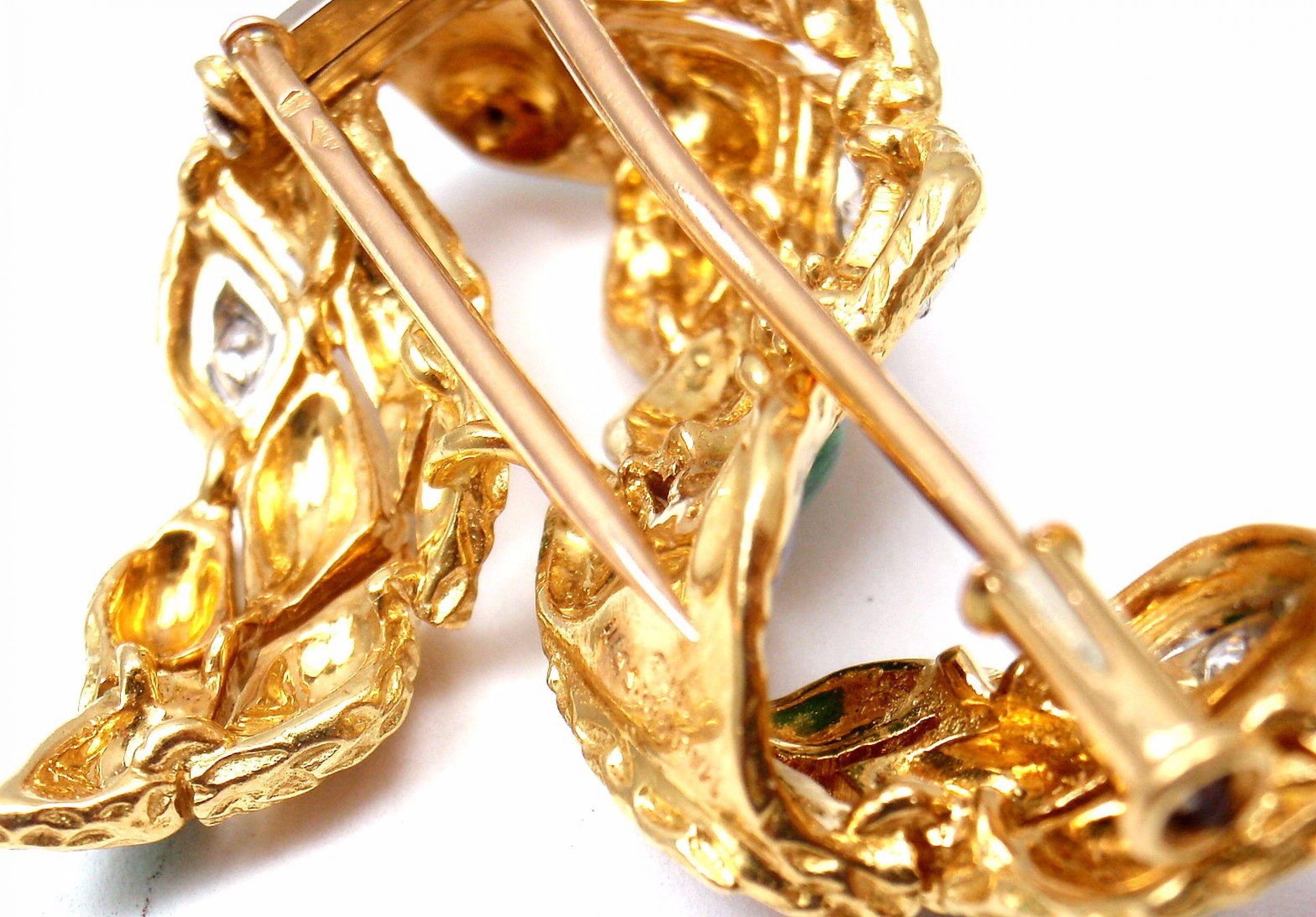 Vintage French Mauboussin 18k Yellow Gold Enamel Harlequin Diamond Brooch Pin