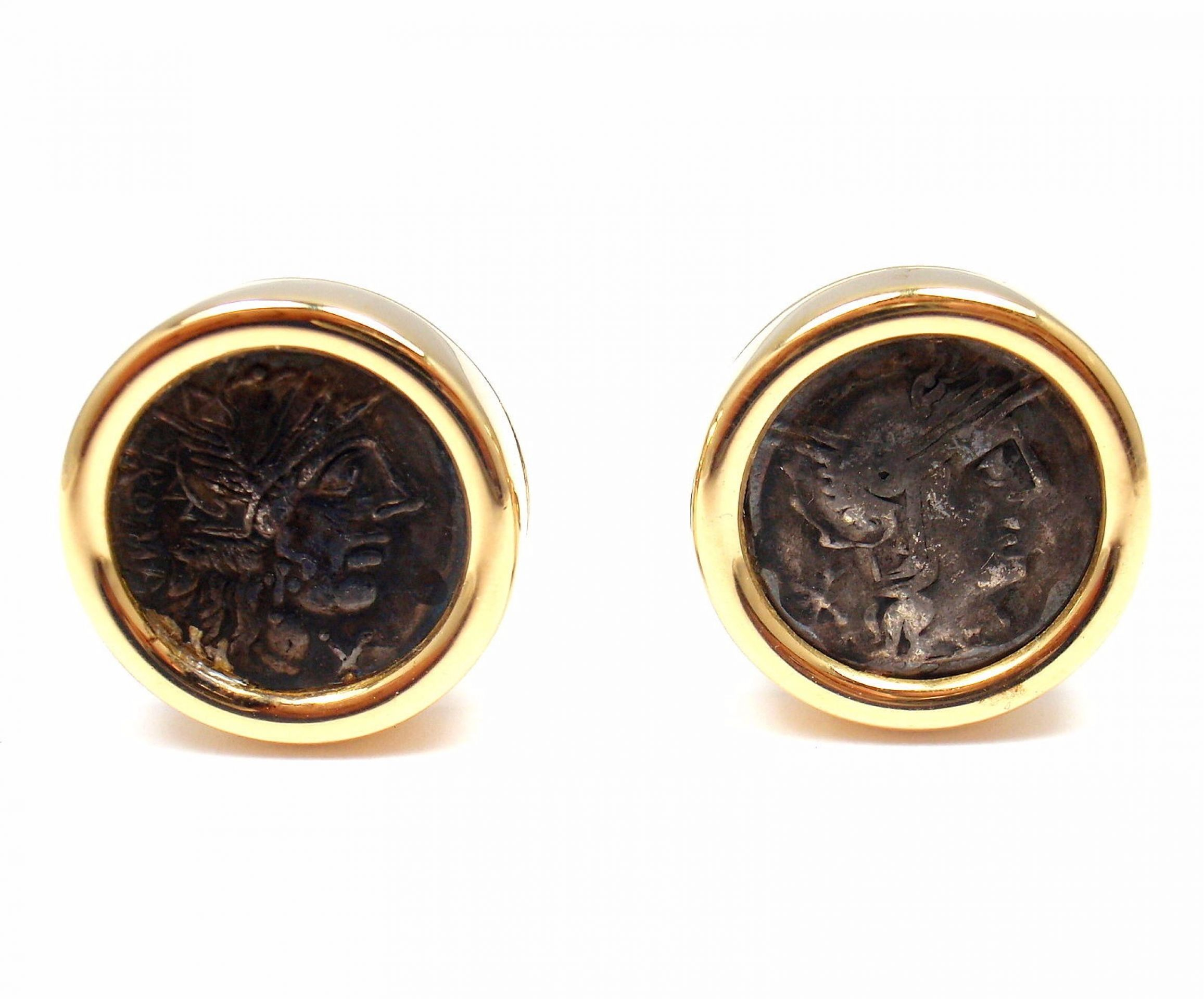 Bulgari Bvlgari 18k Yellow Gold Large Ancient Coin Mens Cufflinks