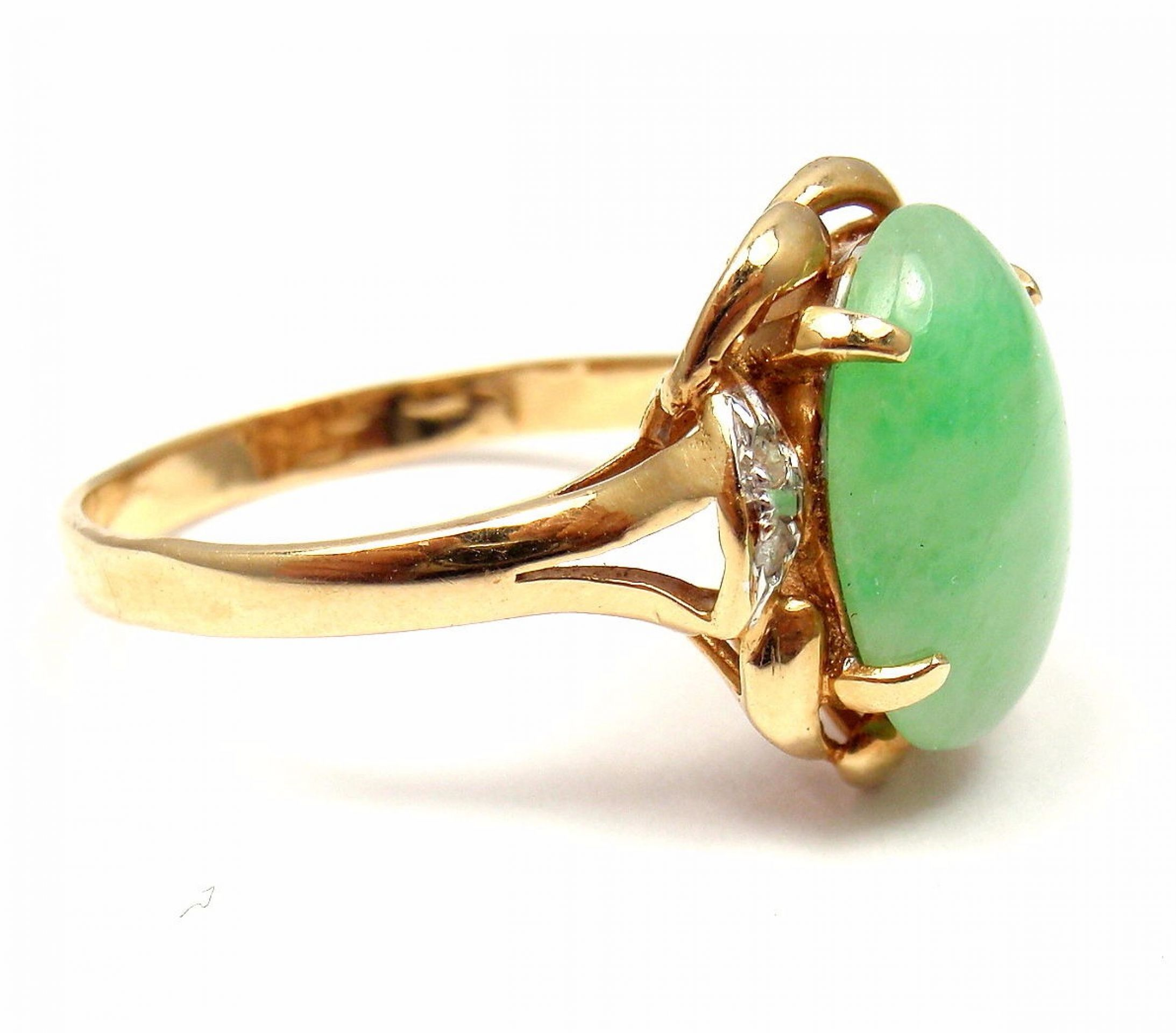 Vintage Estate 14k Yellow Gold Jade Diamond Ring