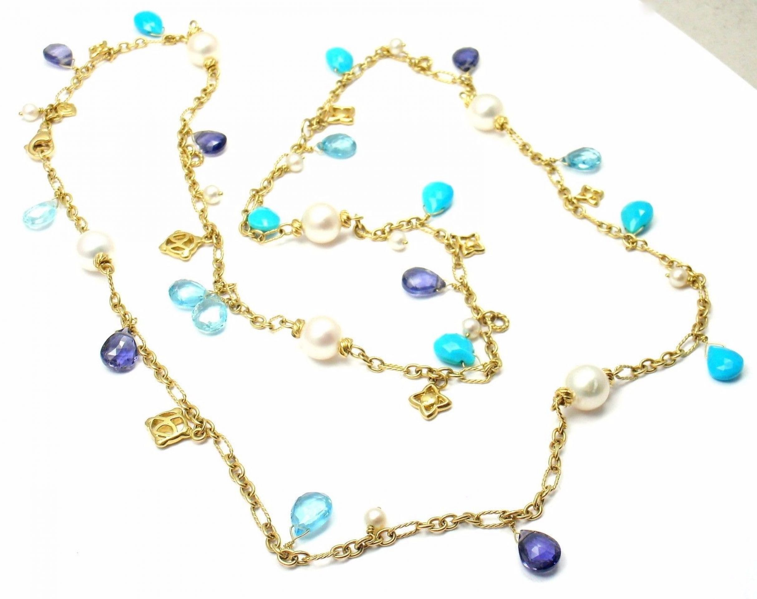 David Yurman DY Logo 18k Yellow Gold Turquoise Pearl Tanzanite Bead Necklace 30""