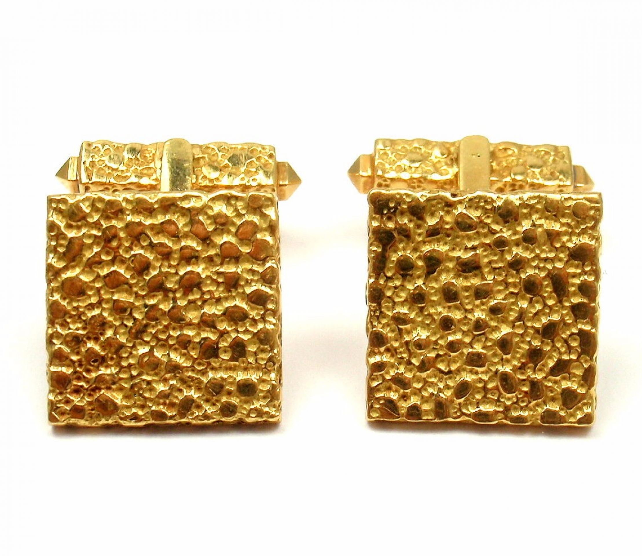 Vintage Cartier Belgium 18k Yellow Gold Nugget Mens Cufflinks