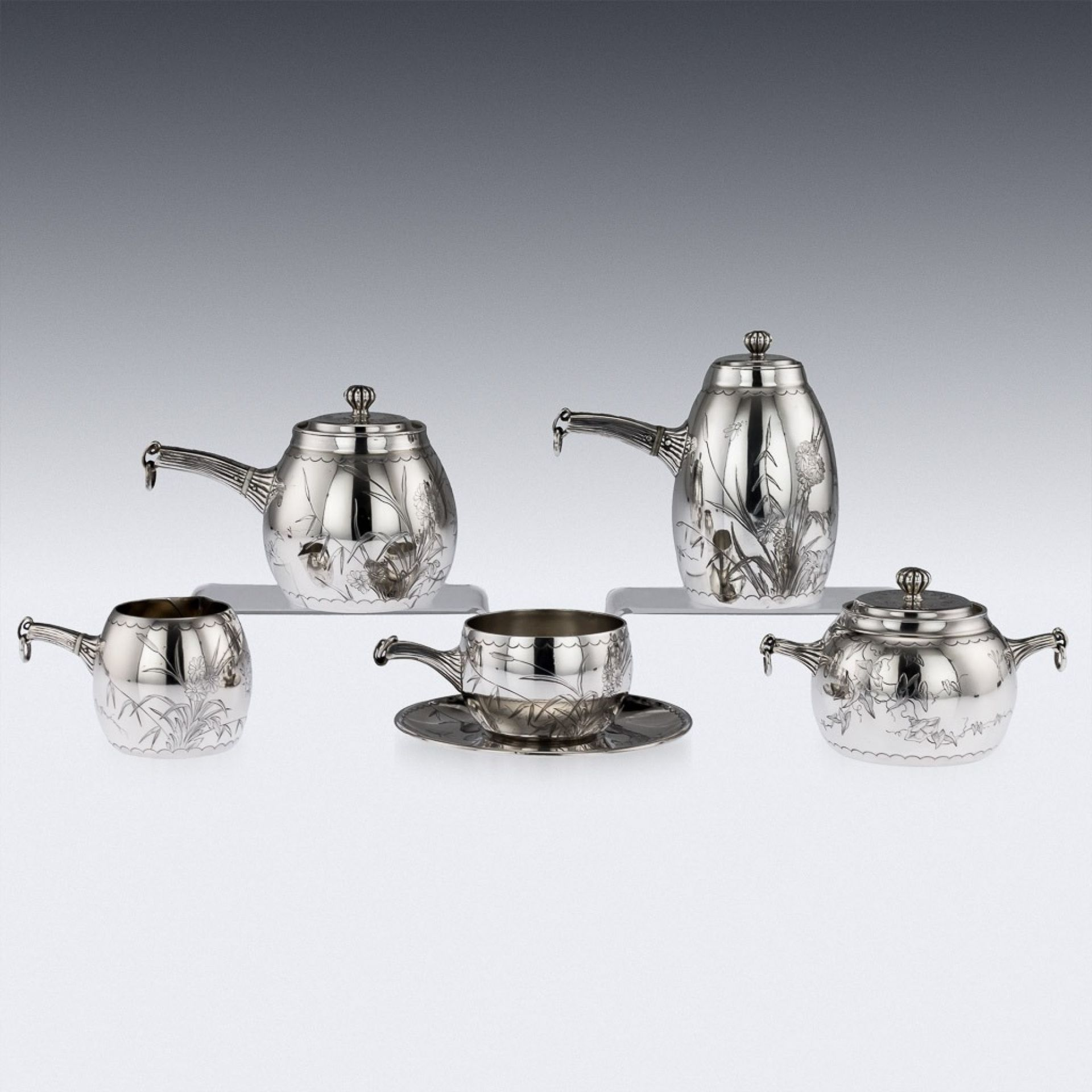 ANTIQUE 19thC FRENCH AESTHETIC MOVEMENT SOLID SILVER BACHELOR SET, MAYER c.1880